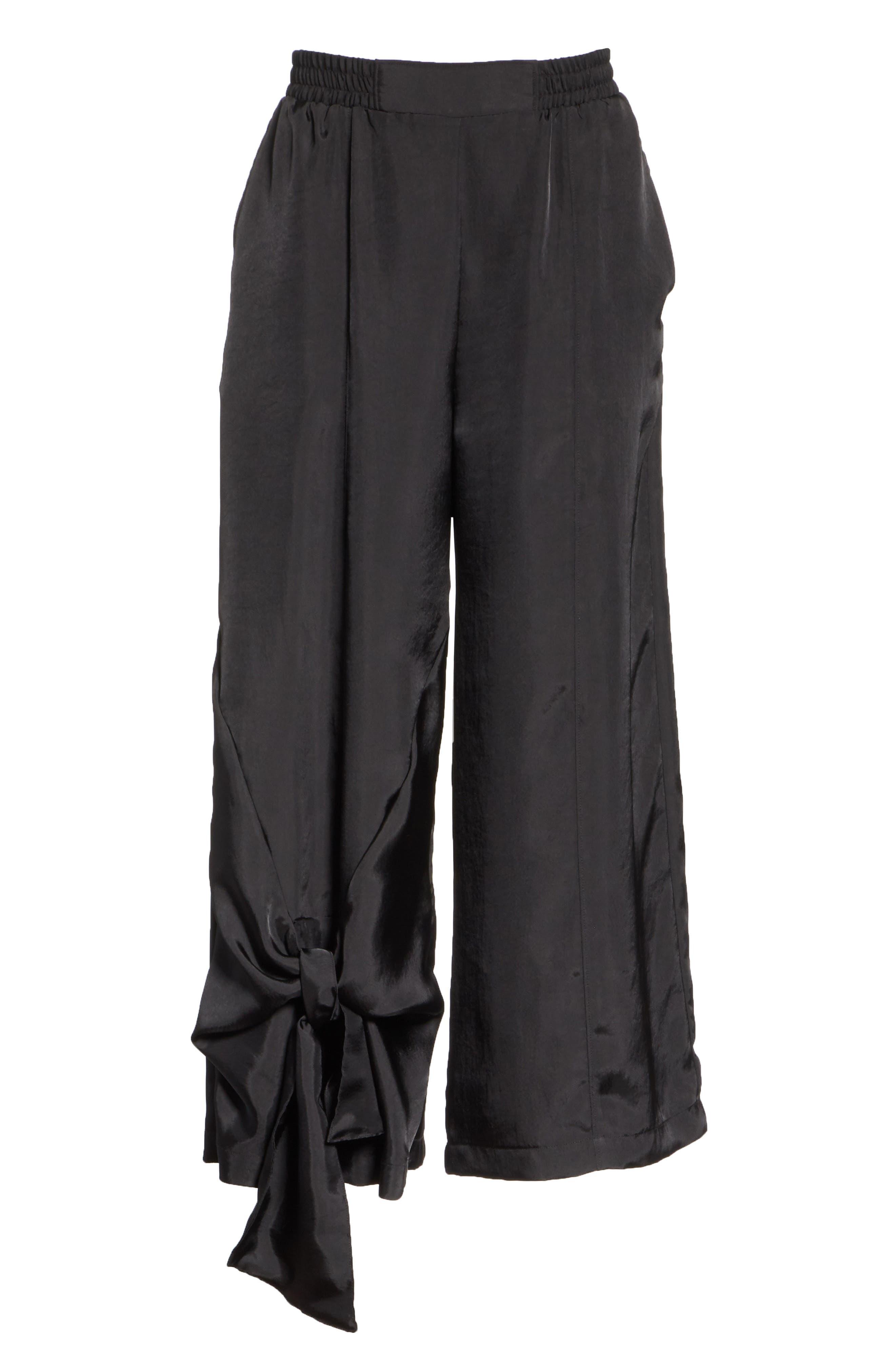 Tie Detail Crop Pants,                             Alternate thumbnail 6, color,                             001