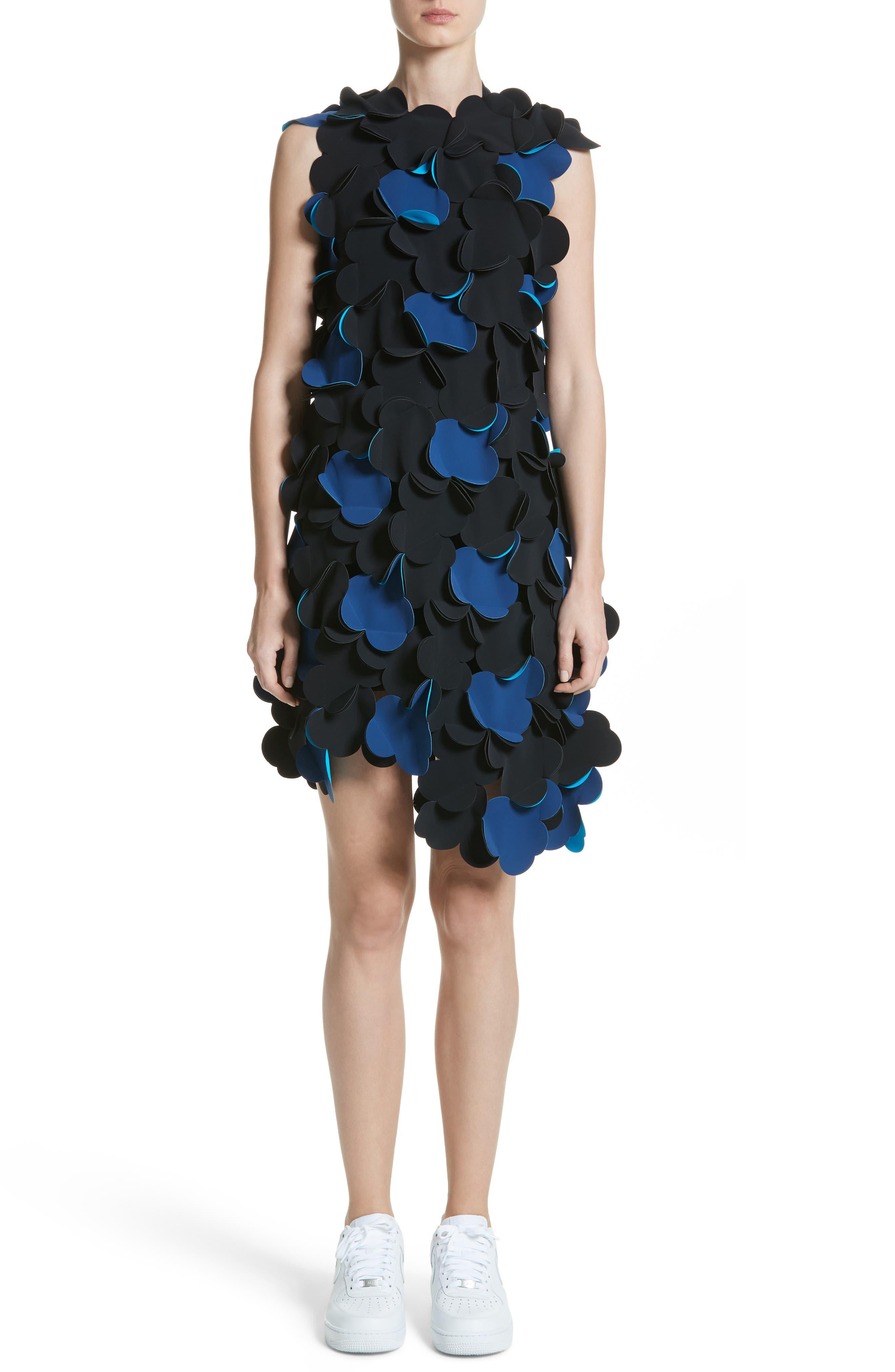 Laser Cut Appliqué Asymmetrical Dress,                             Main thumbnail 1, color,                             001