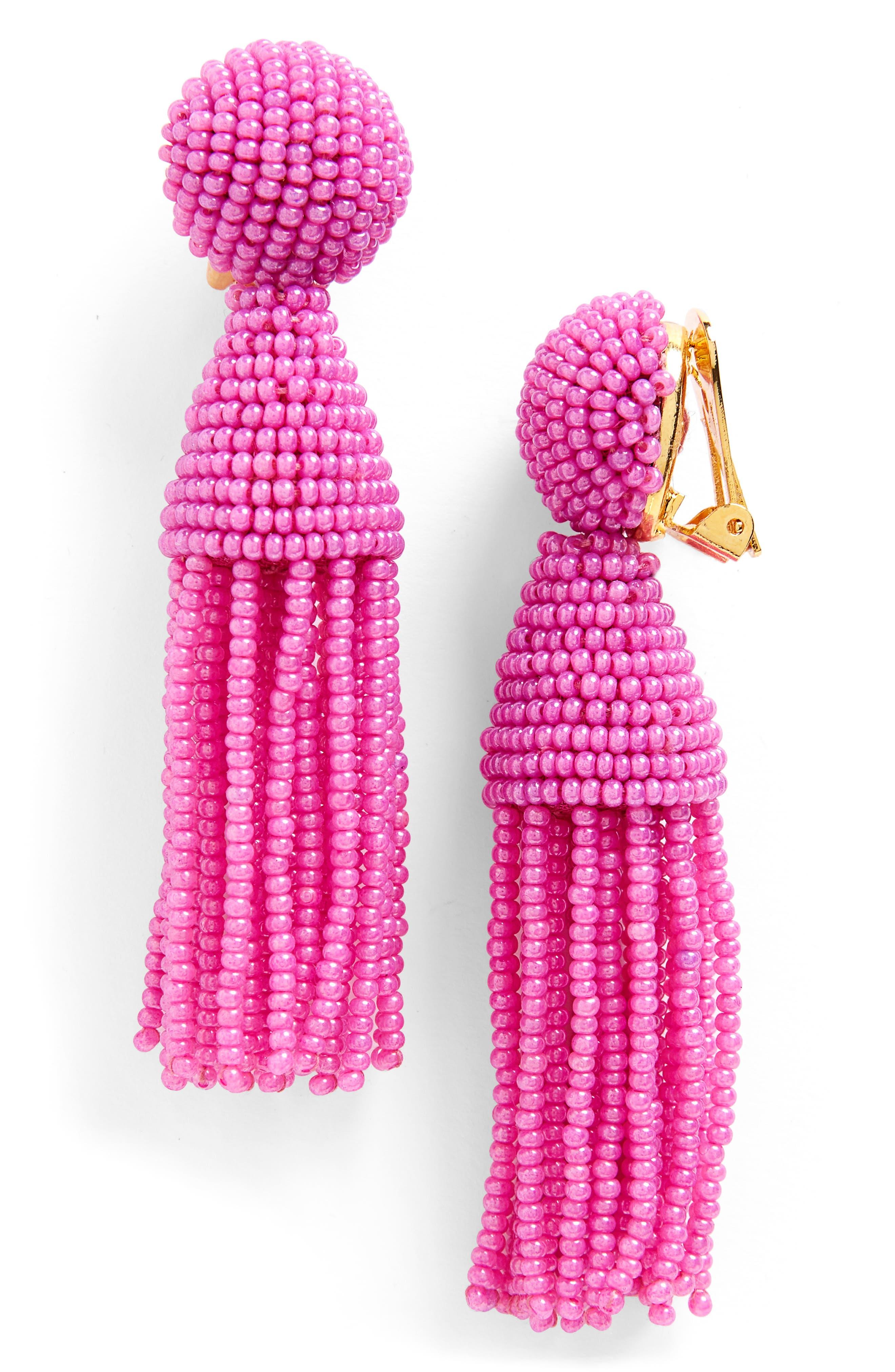 'Classic Short' Tassel Drop Clip Earrings,                             Main thumbnail 21, color,