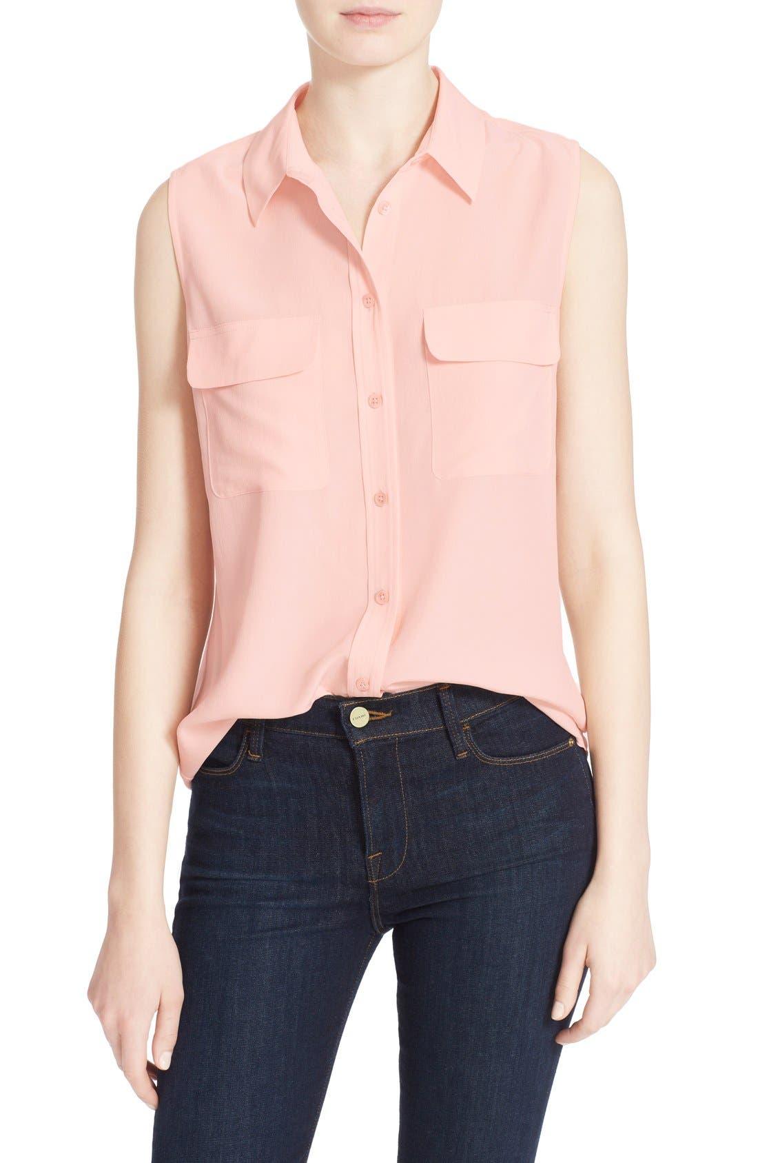 'Slim Signature' Sleeveless Silk Shirt,                             Main thumbnail 40, color,