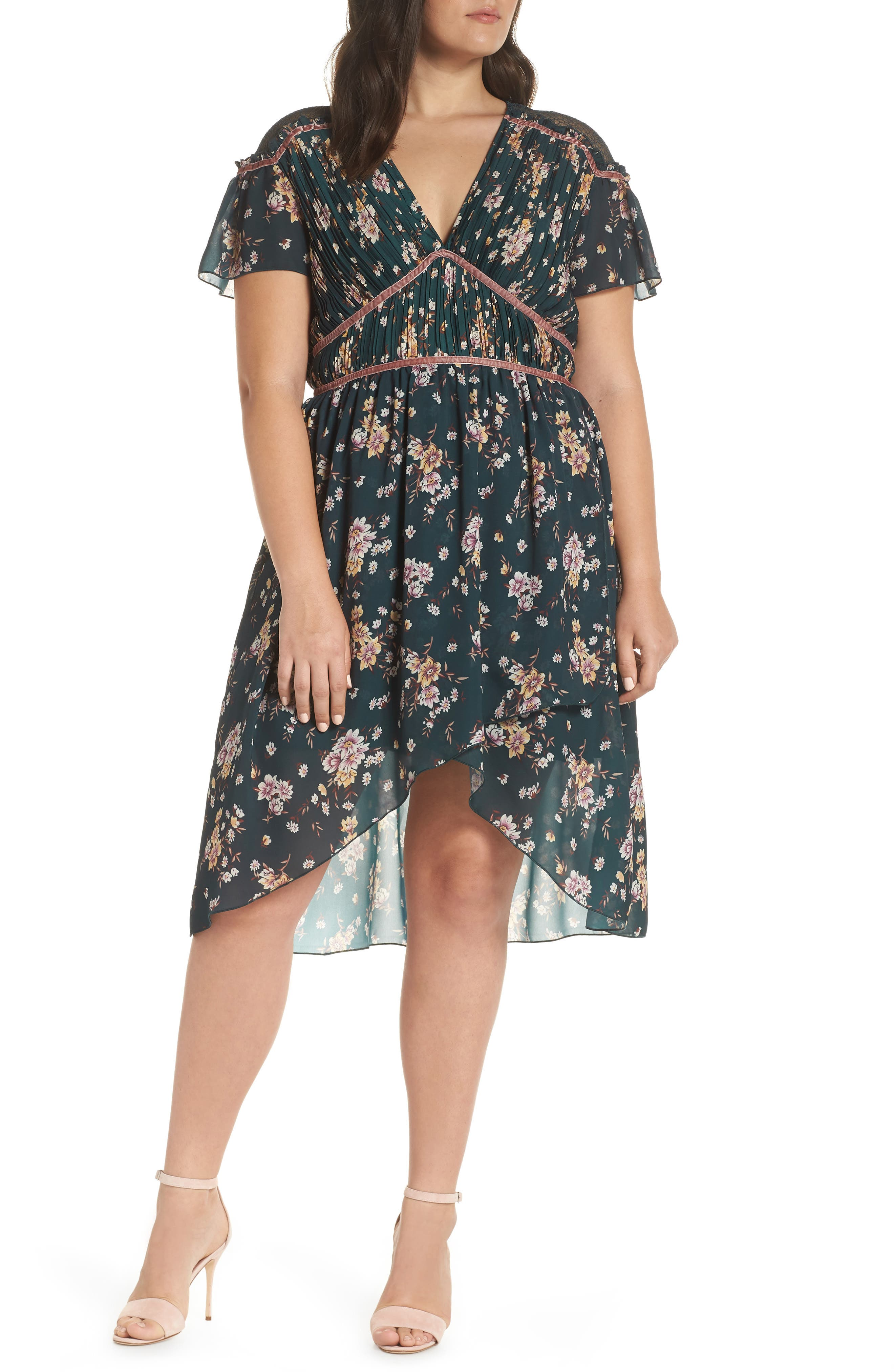 Floral Pleat & Lace Mix Dress,                             Alternate thumbnail 2, color,                             GREEN BRANCHING LILIES