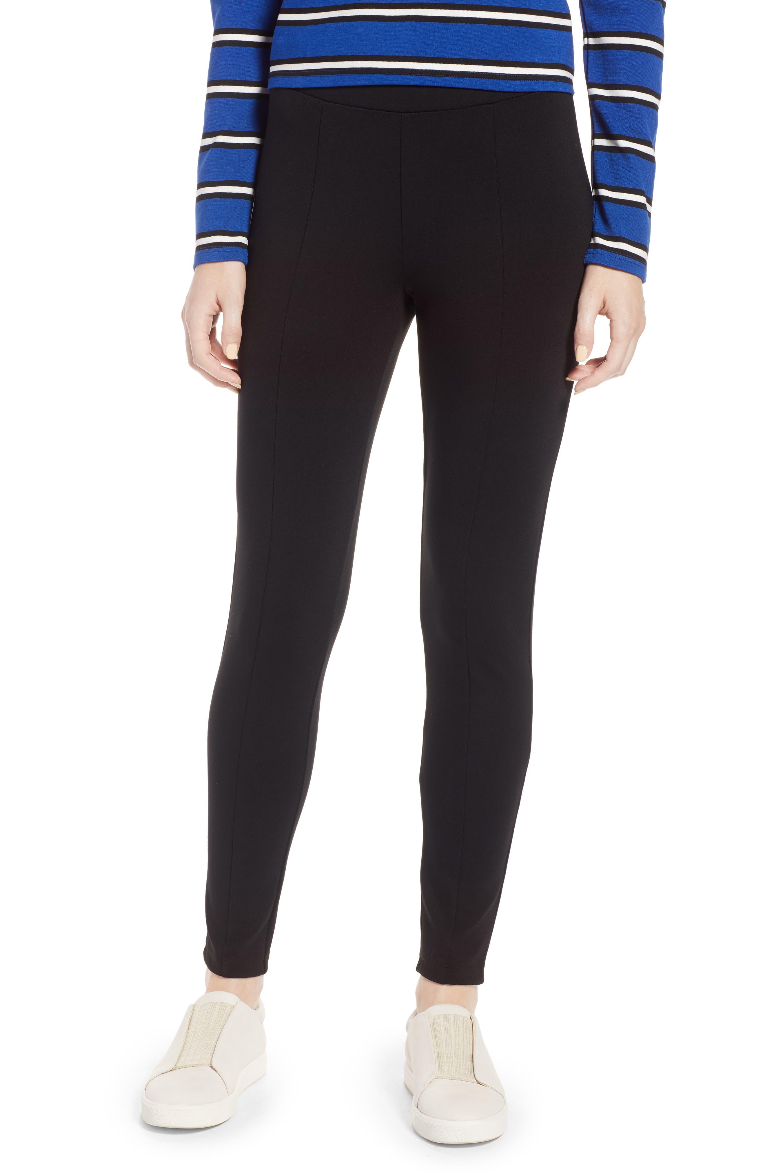 Seamed Ponte Knit Leggings,                         Main,                         color, BLACK