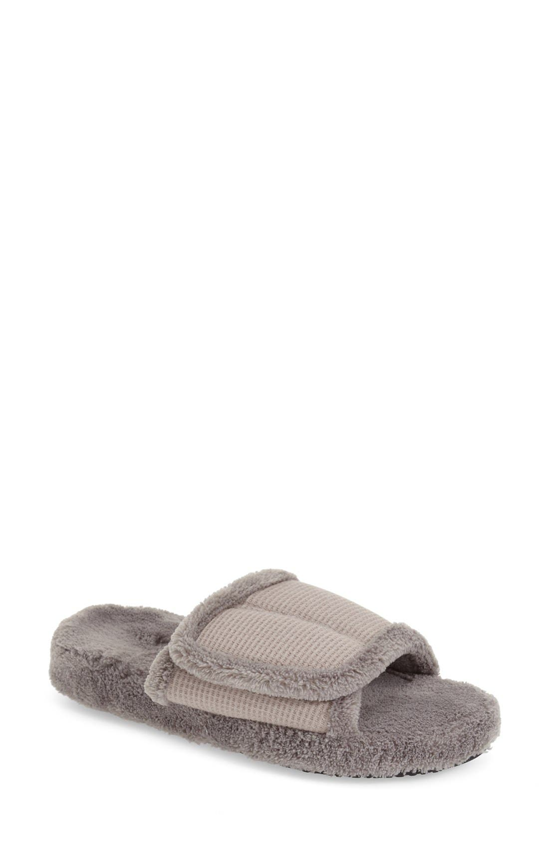 ACORN 'Waffle Spa Slide' Slipper in Grey