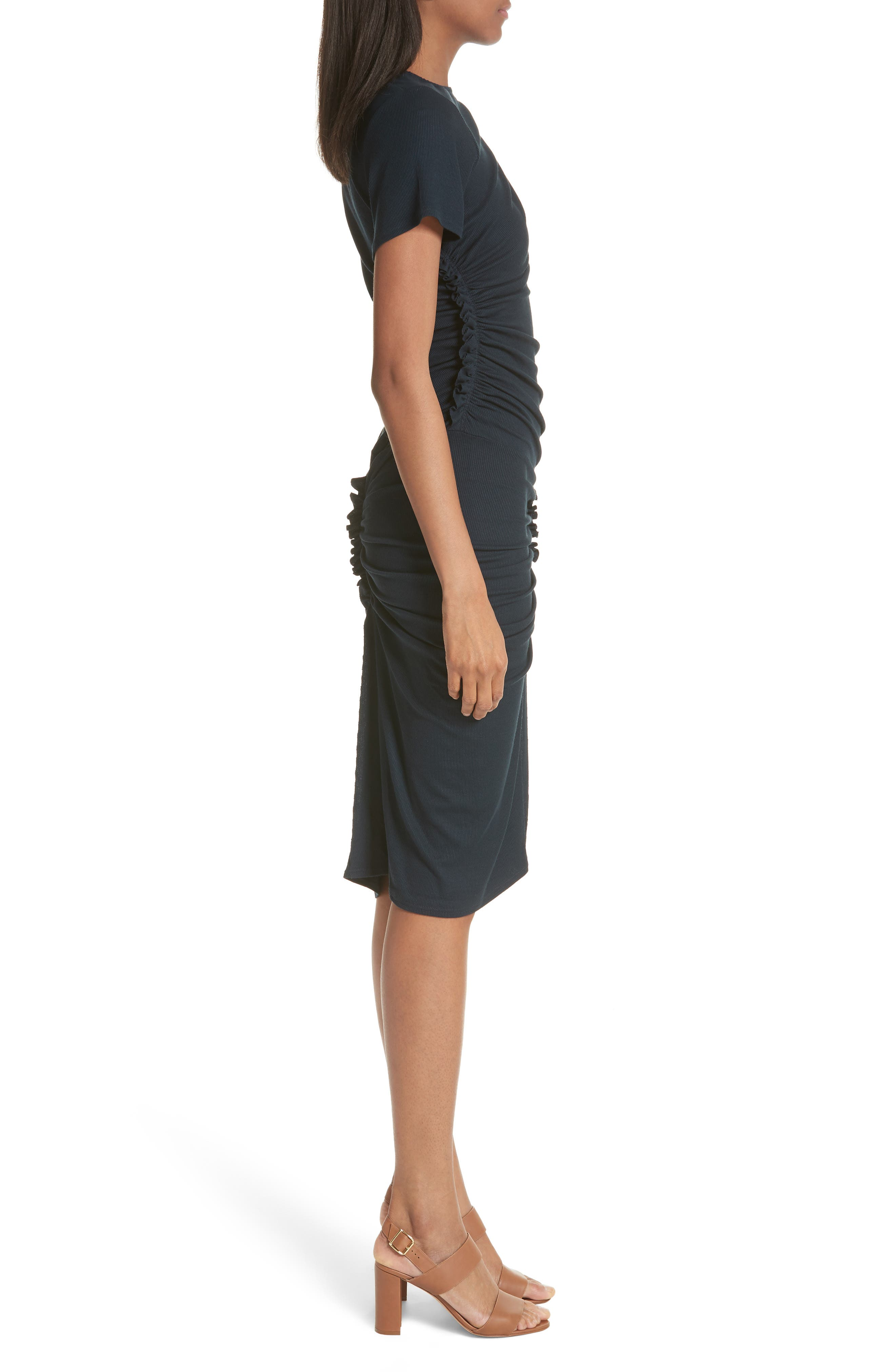 Ruched Rib Knit Dress,                             Alternate thumbnail 3, color,