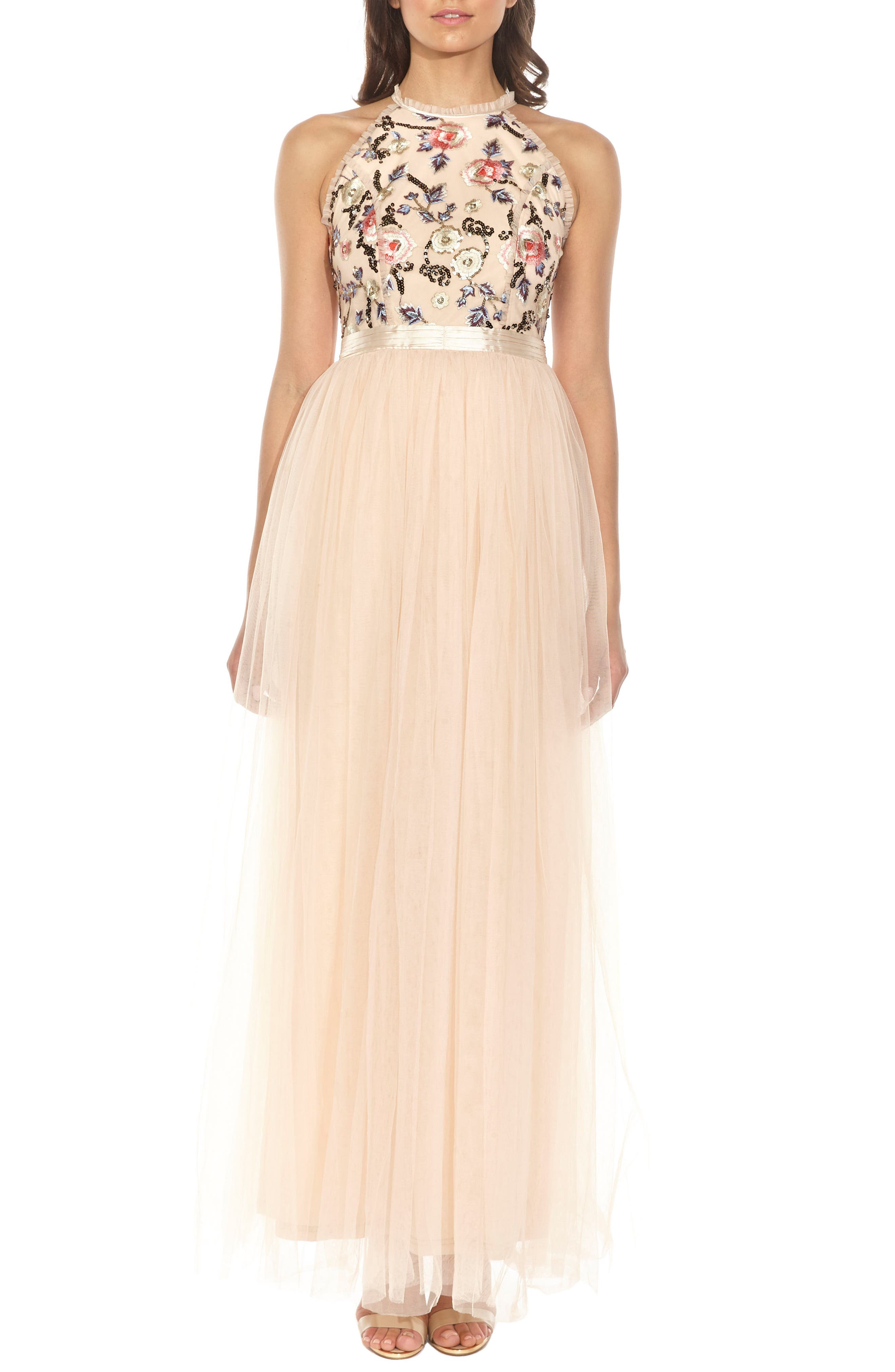Cydney Sequin Bodice Gown,                             Alternate thumbnail 6, color,                             NUDE