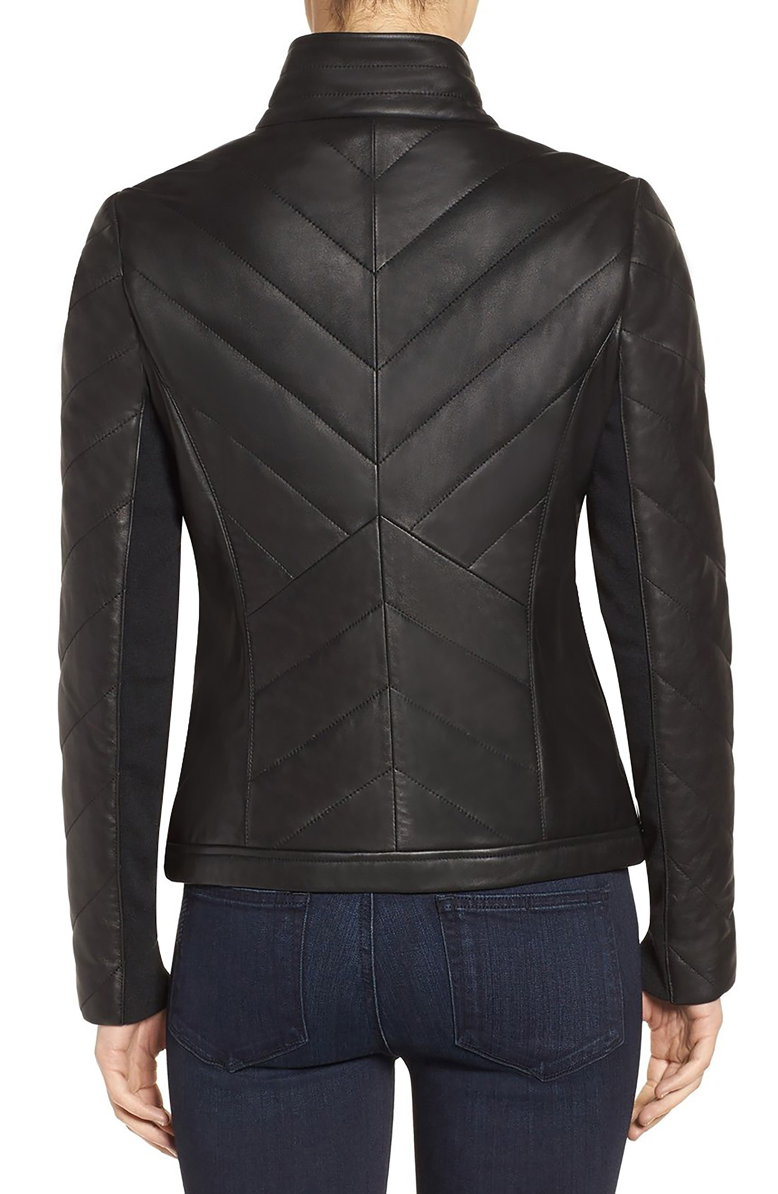 Badgley Mischka Eloise Quilted Leather Moto Jacket,                             Alternate thumbnail 2, color,                             001