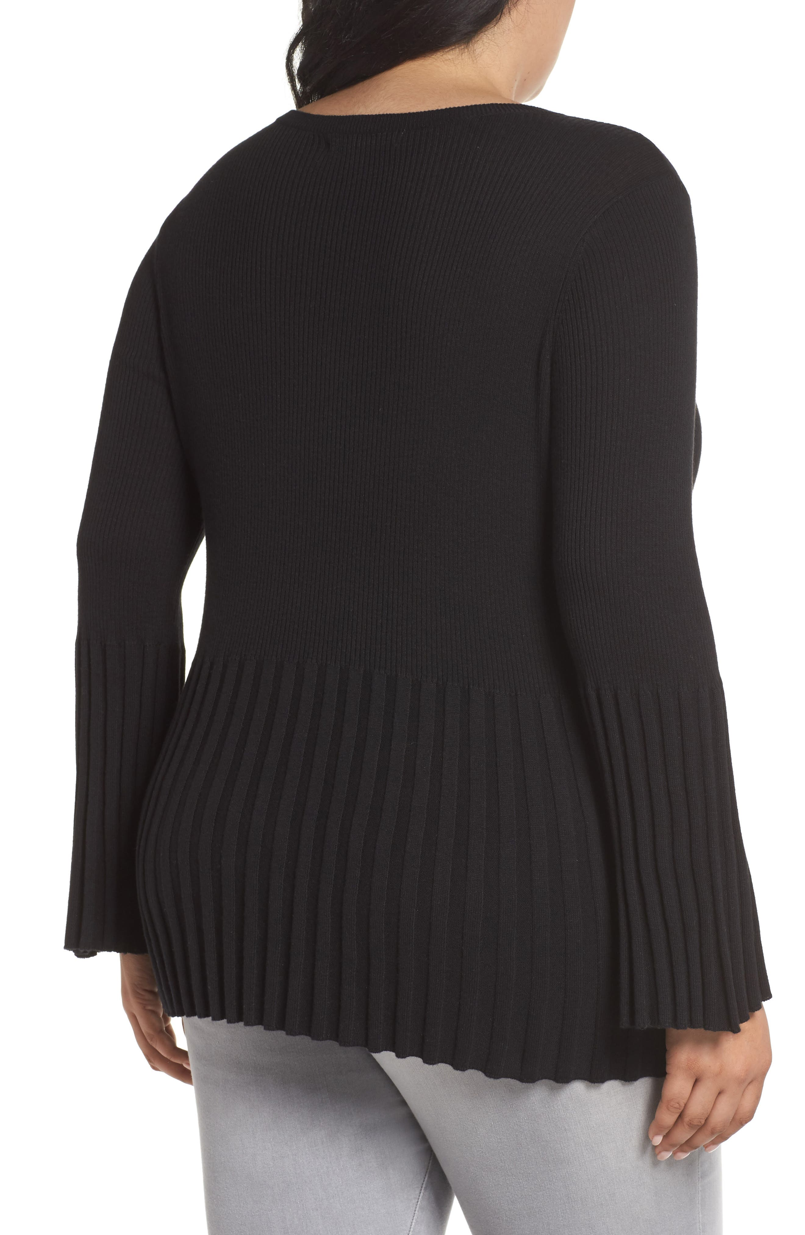 Ribbed Cotton Blend Sweater,                             Alternate thumbnail 2, color,                             001