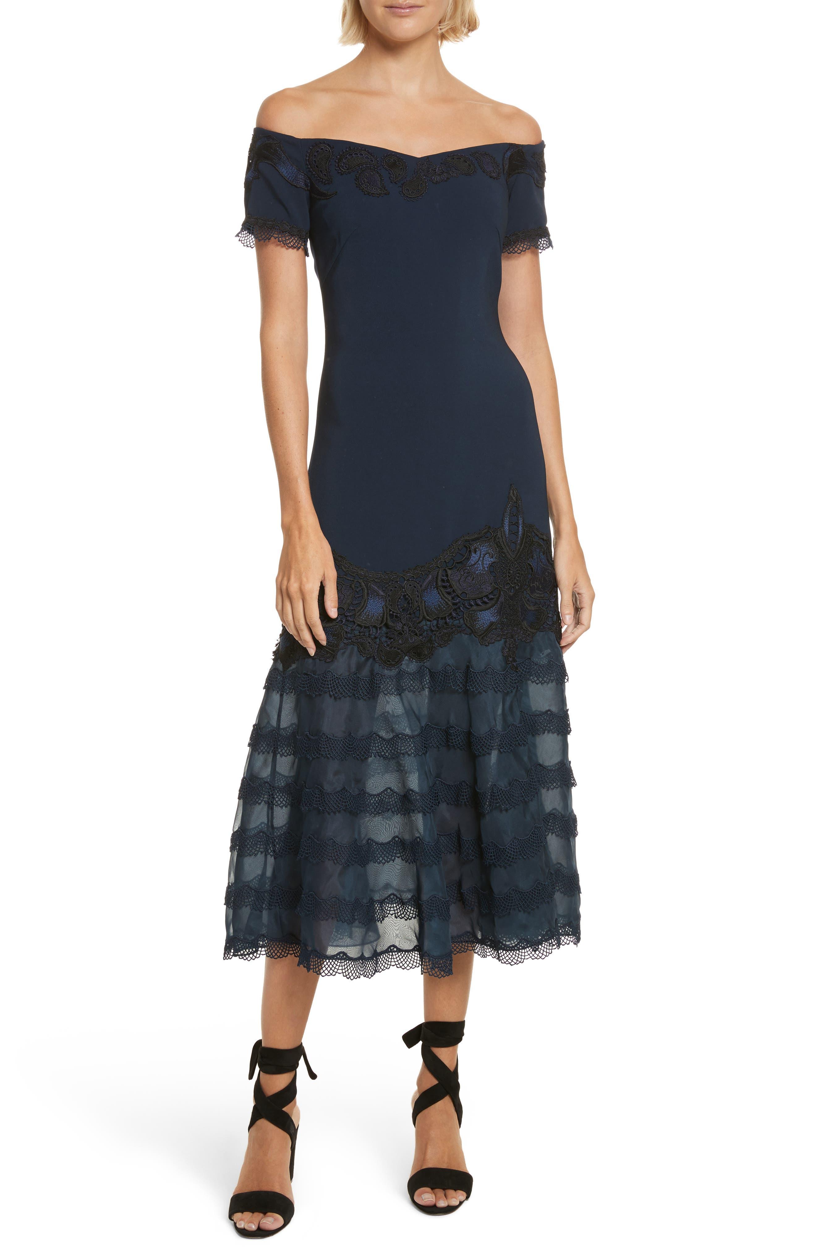 Lace Appliqué Crepe Off the Shoulder Trumpet Dress,                         Main,                         color, 493