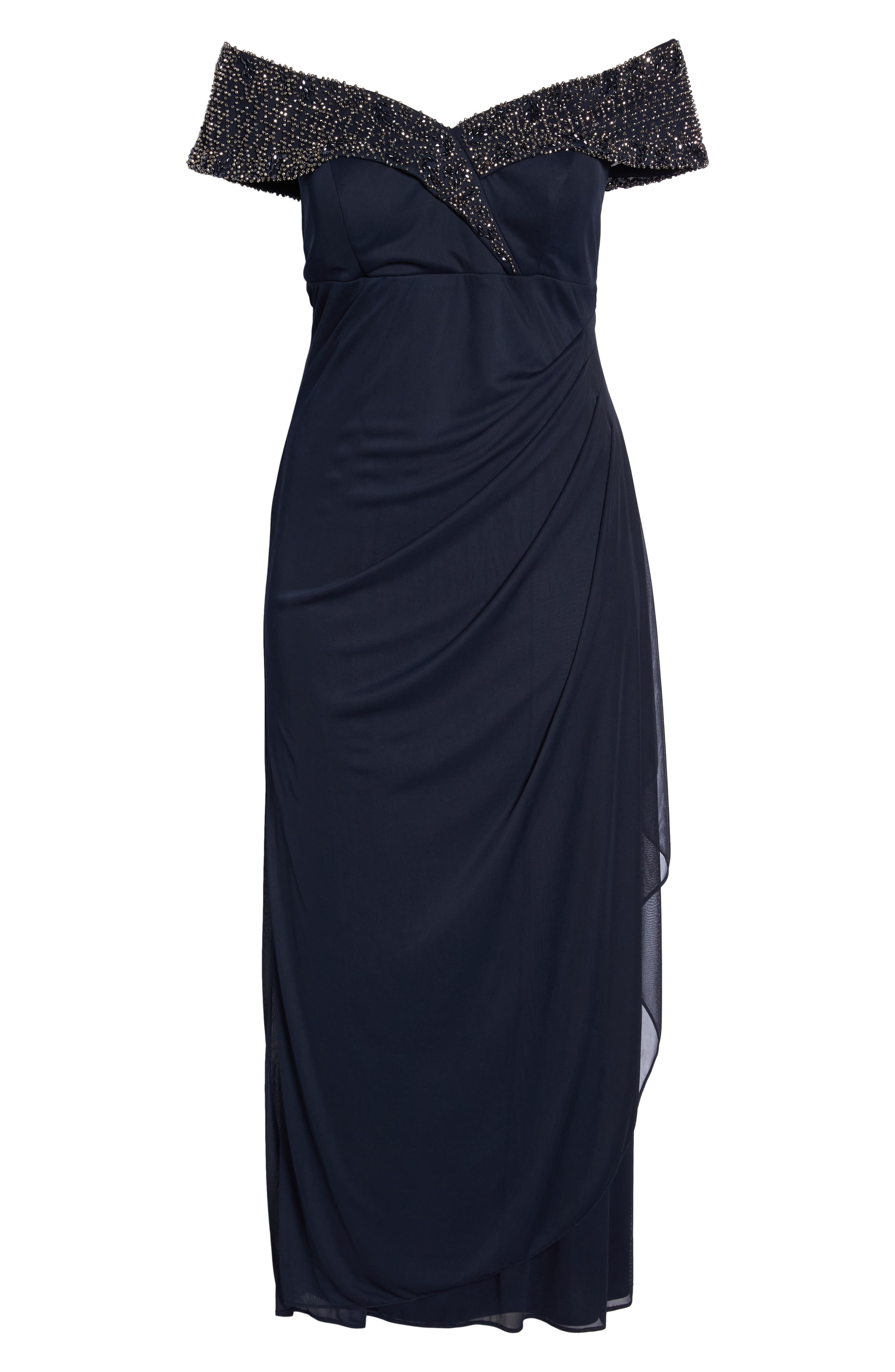 Beaded Off the Shoulder Gown,                             Alternate thumbnail 7, color,                             NAVY/ GUNMETAL