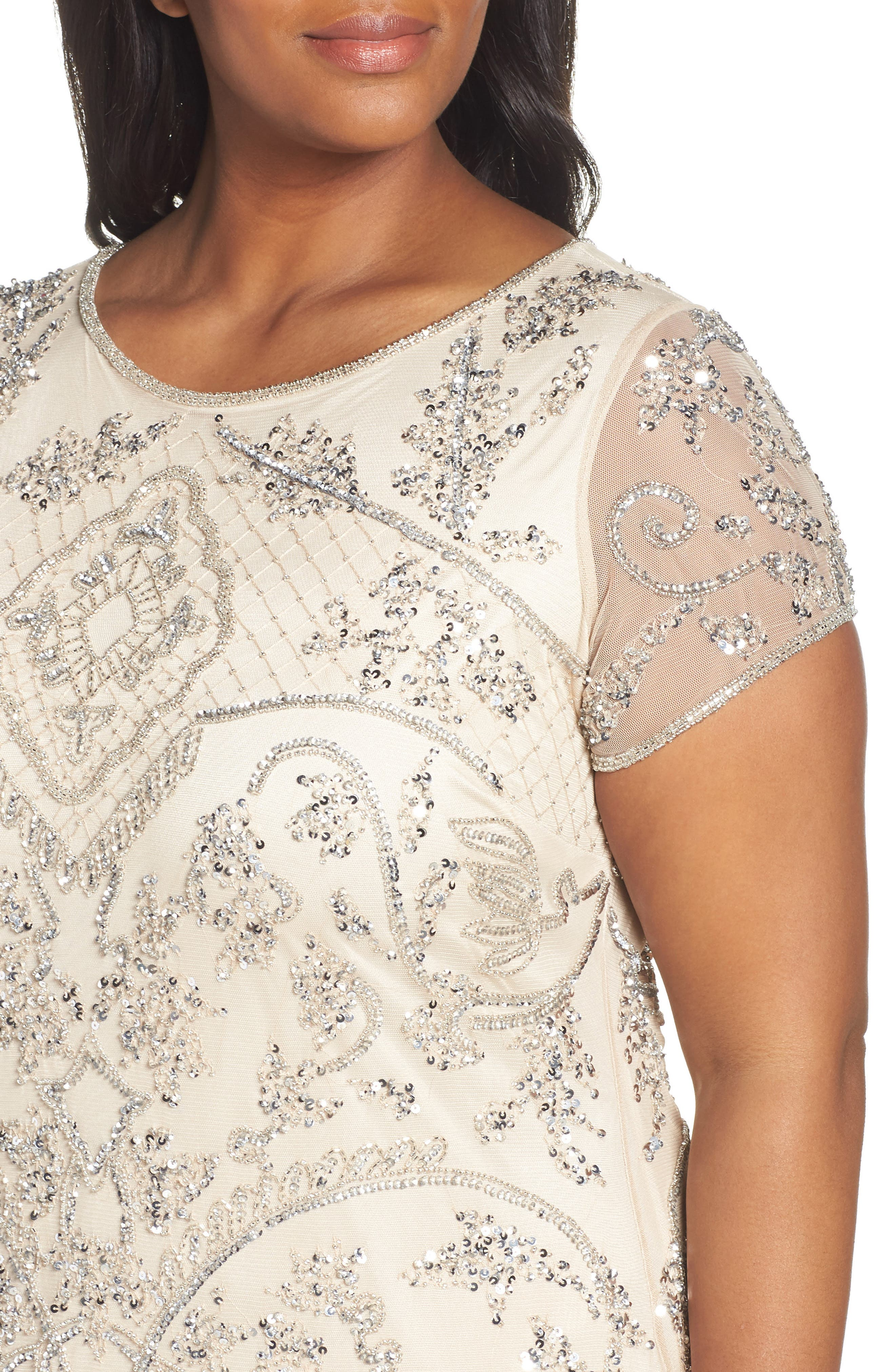 Beaded Short Sleeve Column Gown,                             Alternate thumbnail 4, color,                             CHAMPAGNE/ SILVER