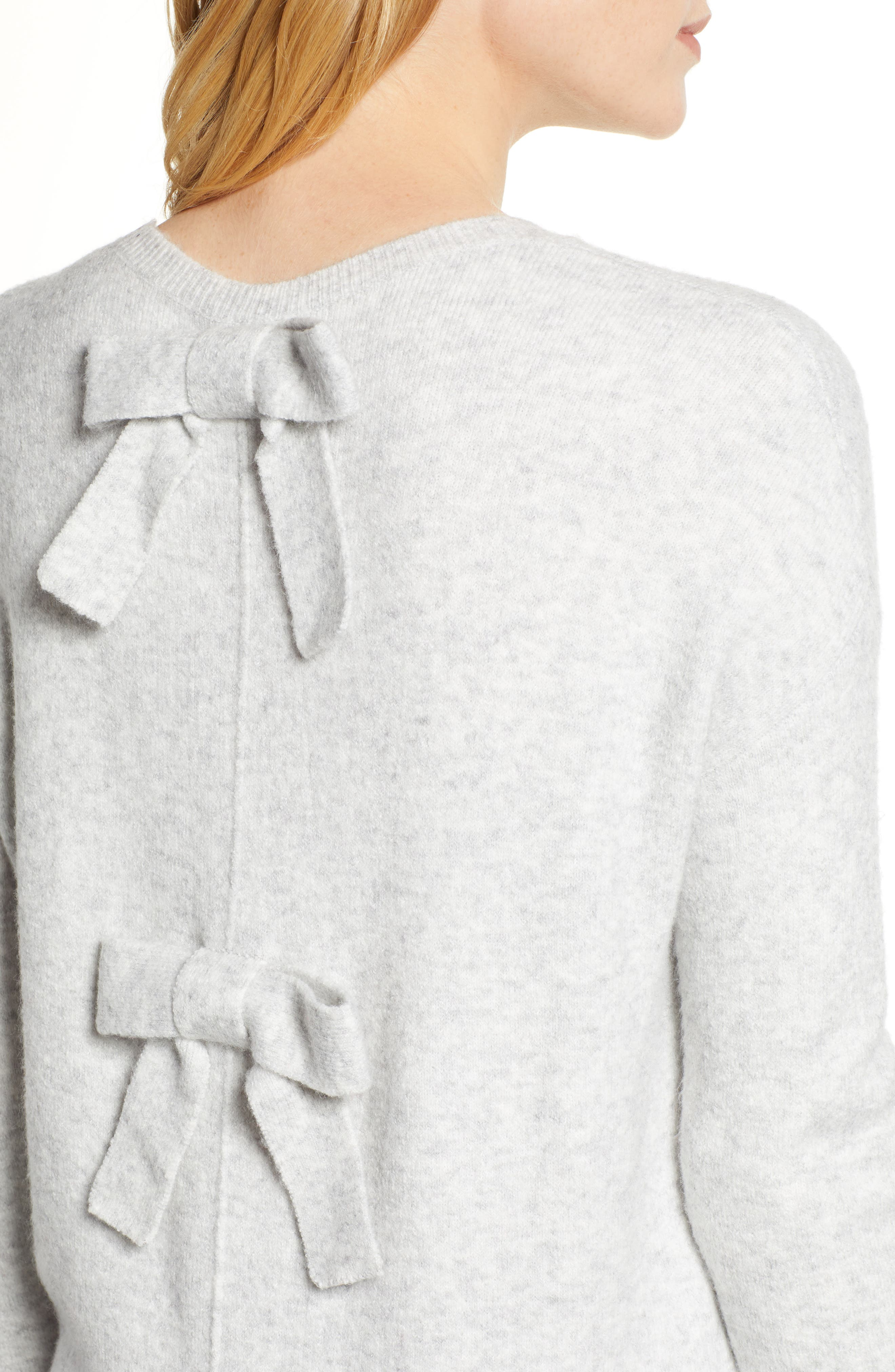 Bow Back Sweater,                             Alternate thumbnail 4, color,                             HEATHER LIGHT GREY