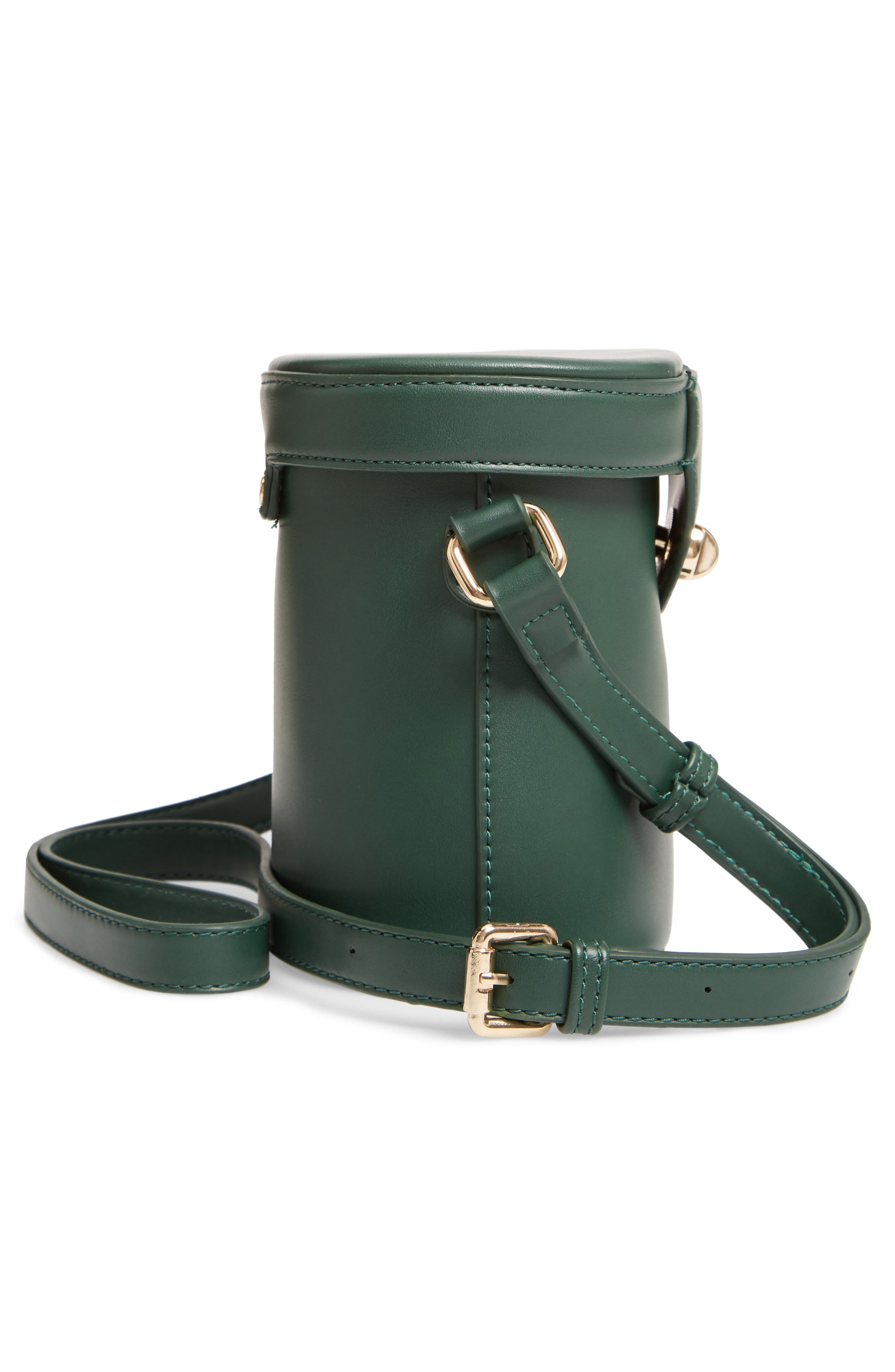 Faux Leather Bucket Bag,                             Alternate thumbnail 5, color,                             GREEN