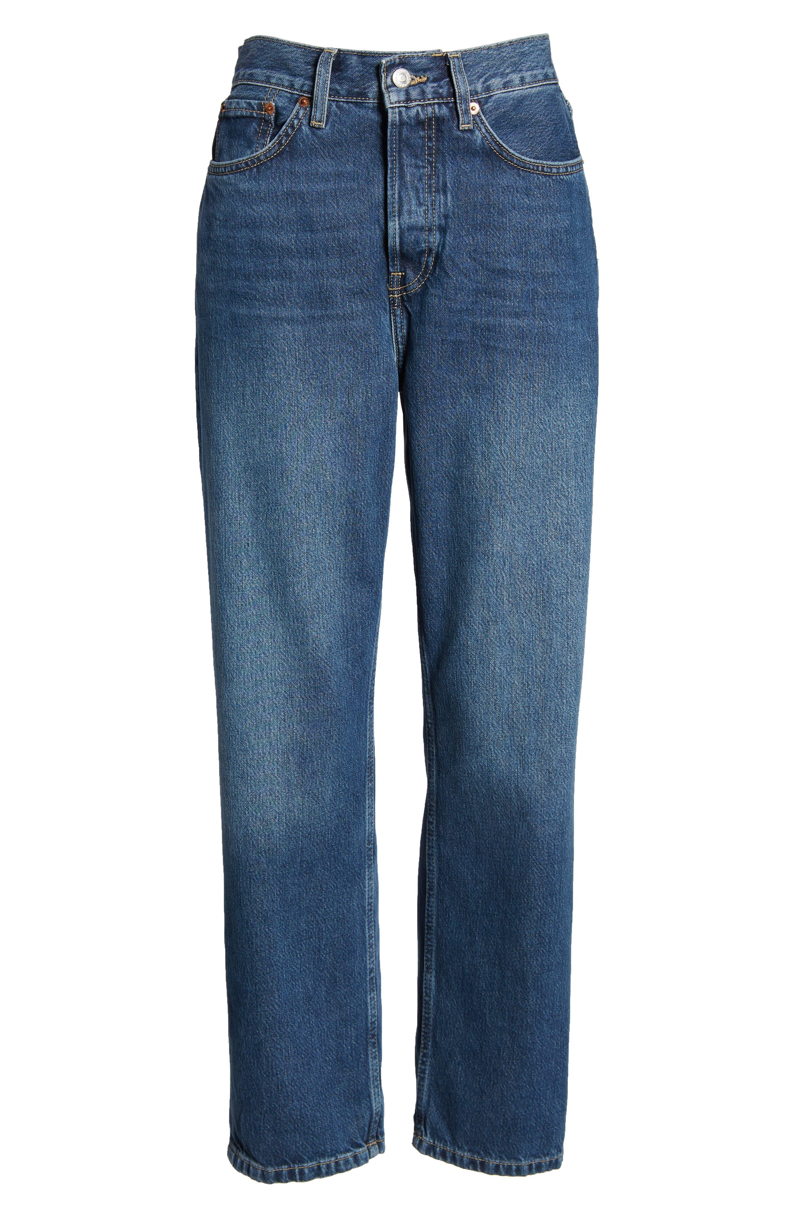 TOPSHOP,                             New Boyfriend Jeans,                             Alternate thumbnail 7, color,                             MID BLUE