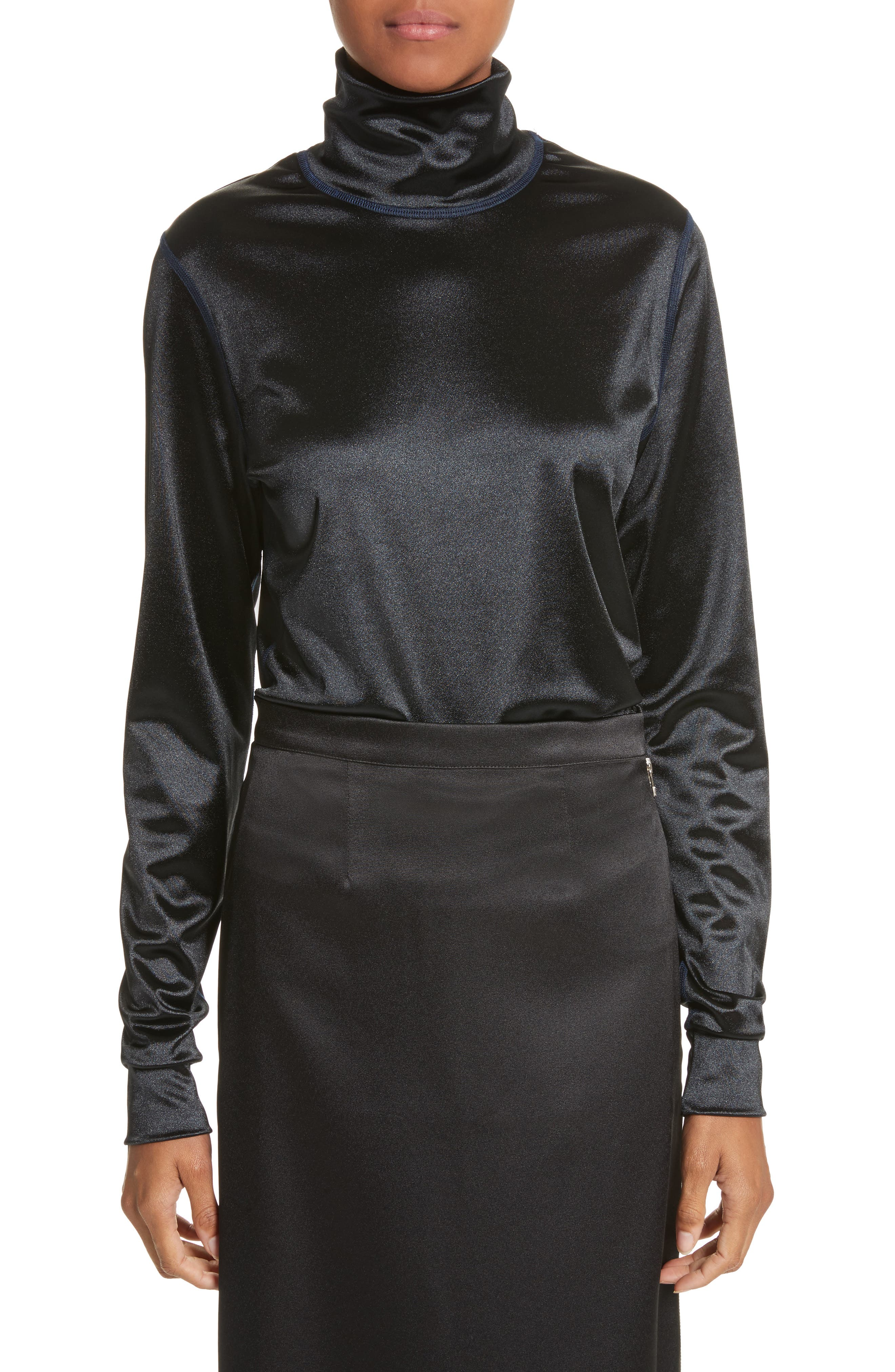 Sleek Stretch Turtleneck,                             Main thumbnail 1, color,                             001