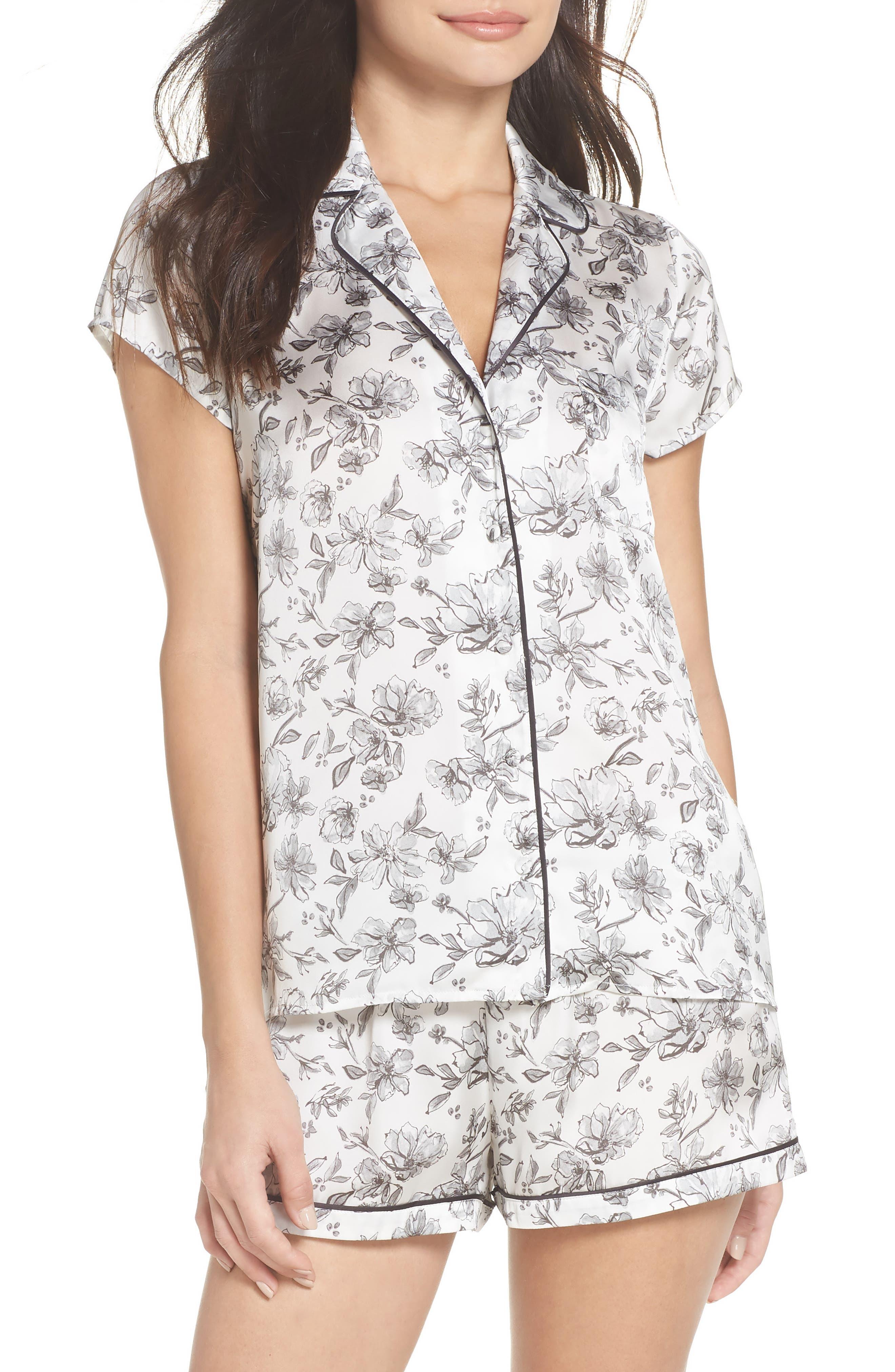 Satin Pajamas,                         Main,                         color, IVORY EGRET LOVELY FLORAL