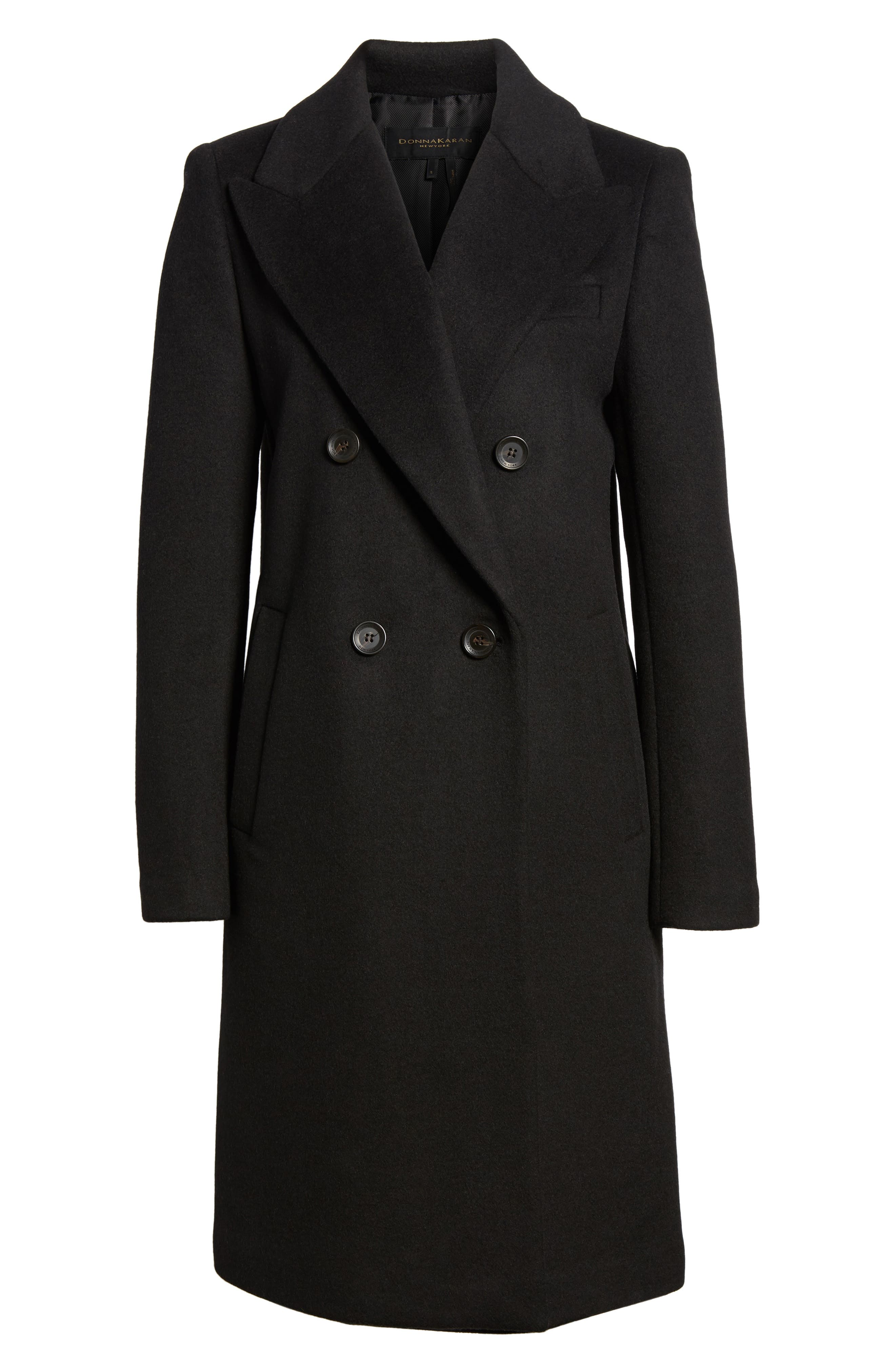 DKNY Lavish Wool Blend Coat,                             Alternate thumbnail 5, color,                             001