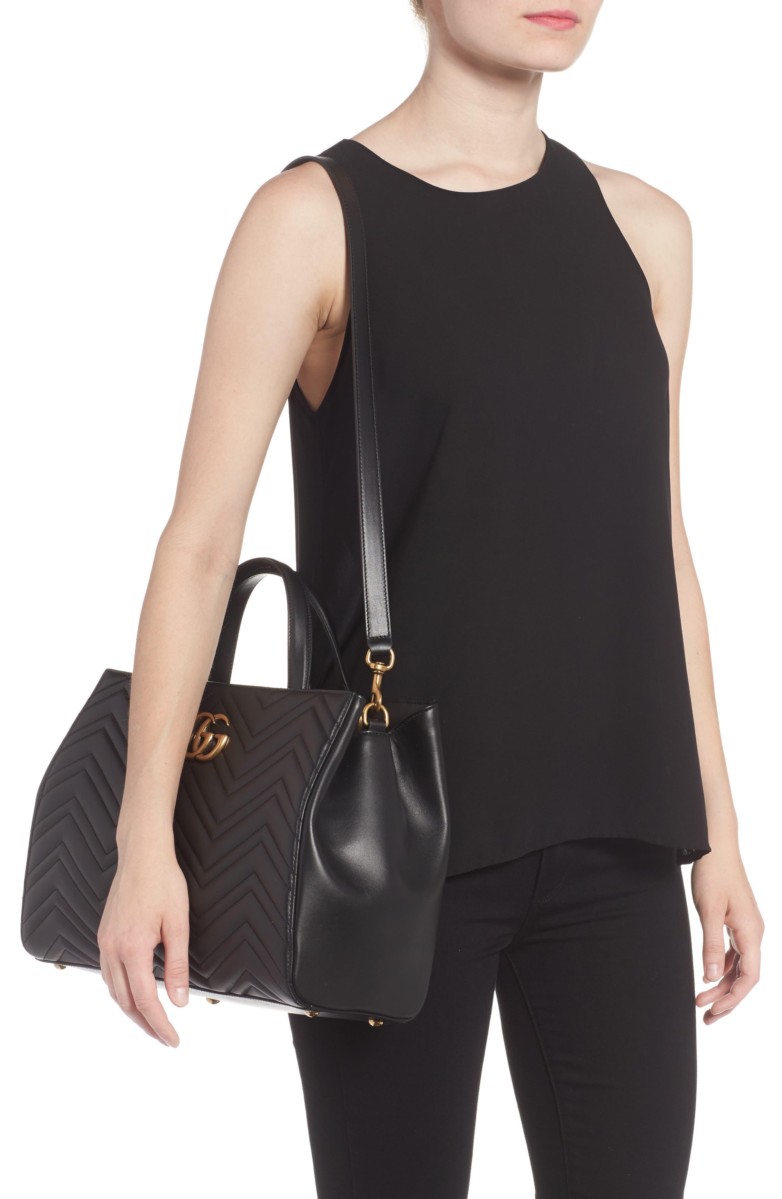 GG Marmont Medium Matelassé Leather Top Handle Shoulder Bag,                             Alternate thumbnail 2, color,                             005