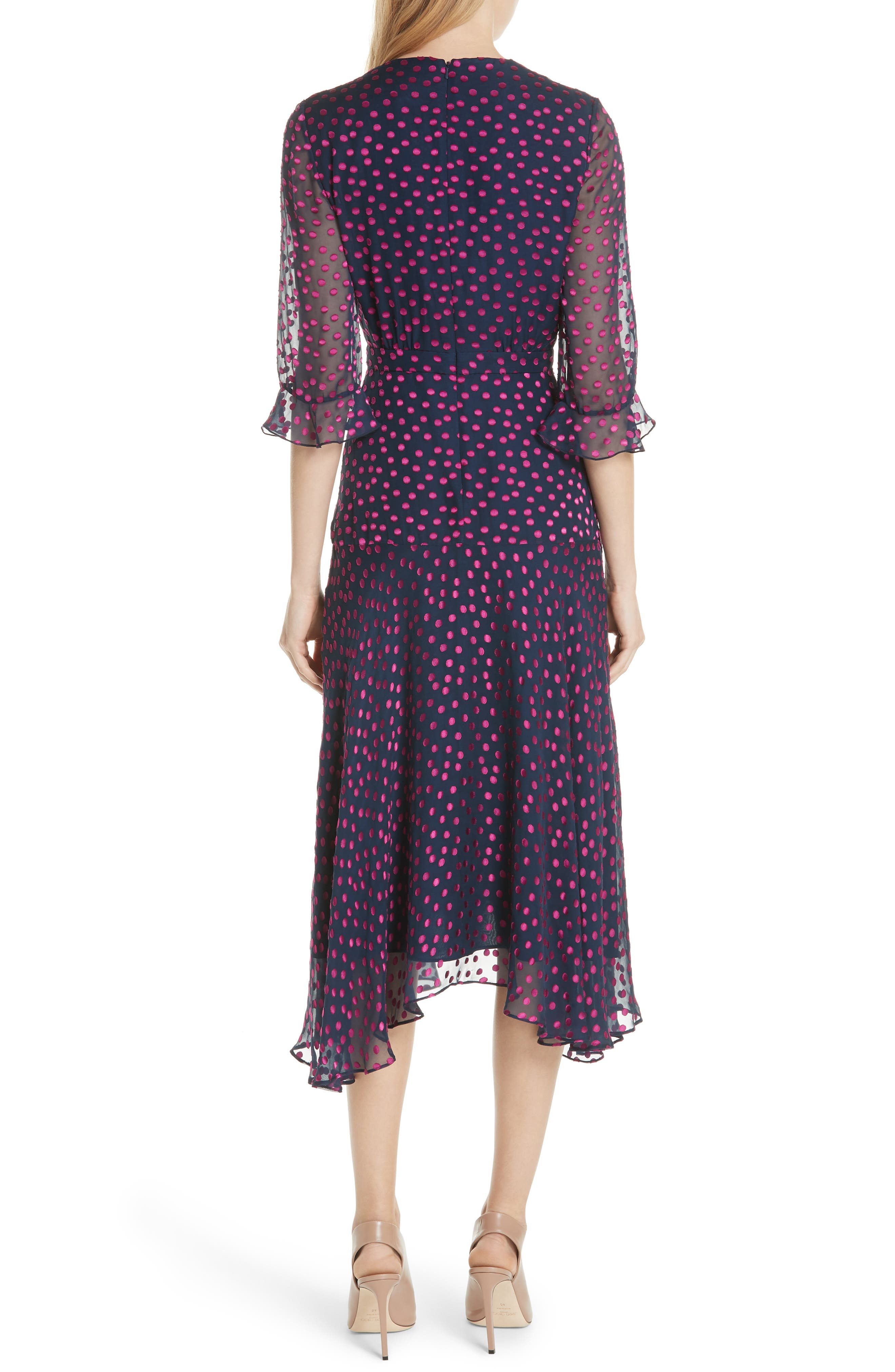 Edith Silk Blend Dress,                             Alternate thumbnail 2, color,                             NAVY/ MAGENTA
