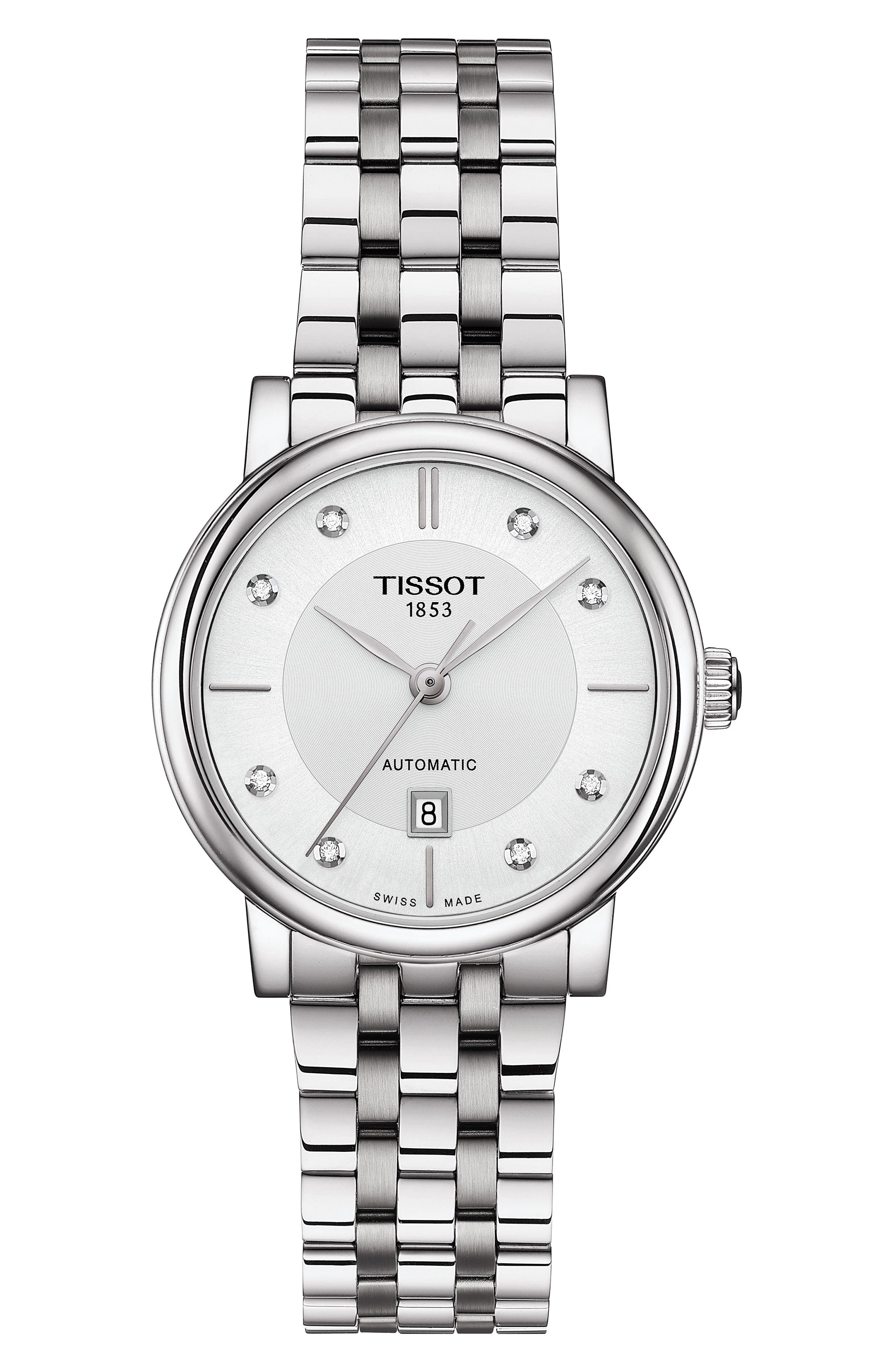 T-Classic Carson Diamond Bracelet Watch, 30Mm in Silver/ White/ Silver