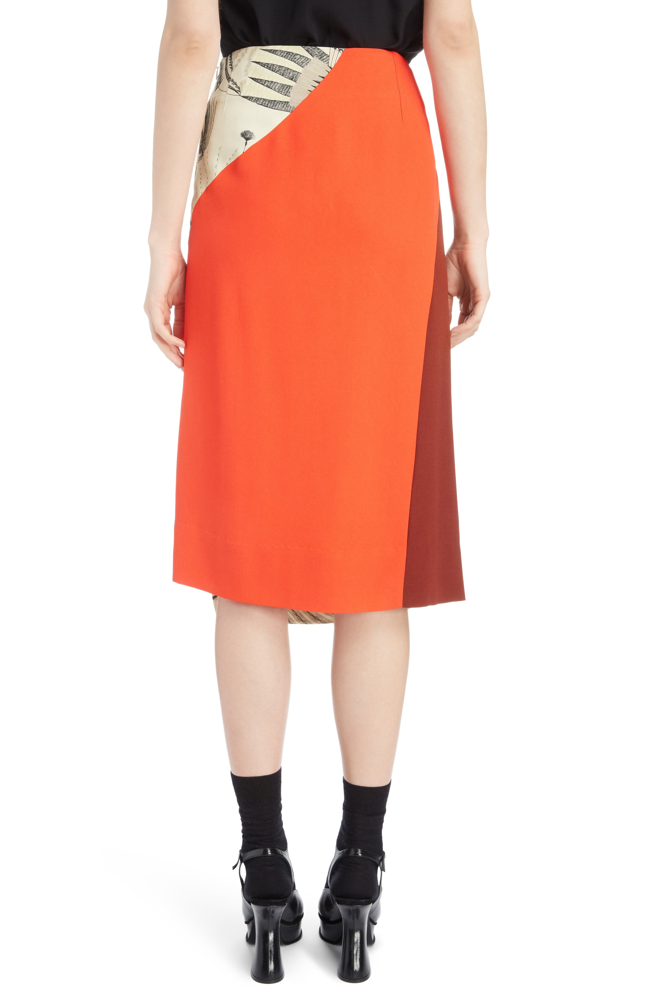 Asymmetrical Colorblock Print Skirt,                             Alternate thumbnail 2, color,                             ECRU