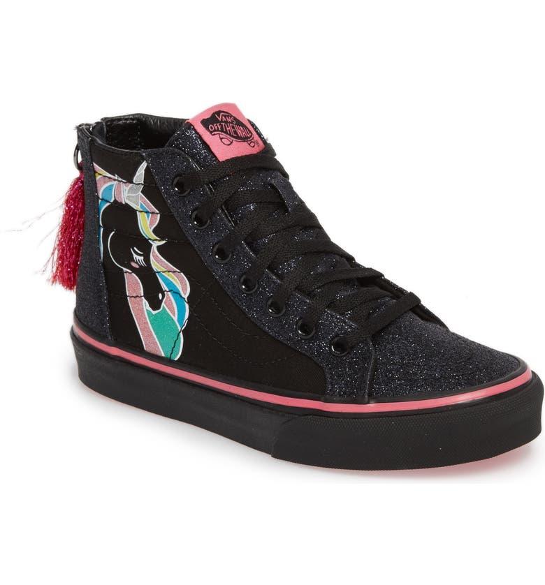 c431496efa0 Vans Sk8-Hi Zip Unicorn Glitter High Top Sneaker (Baby