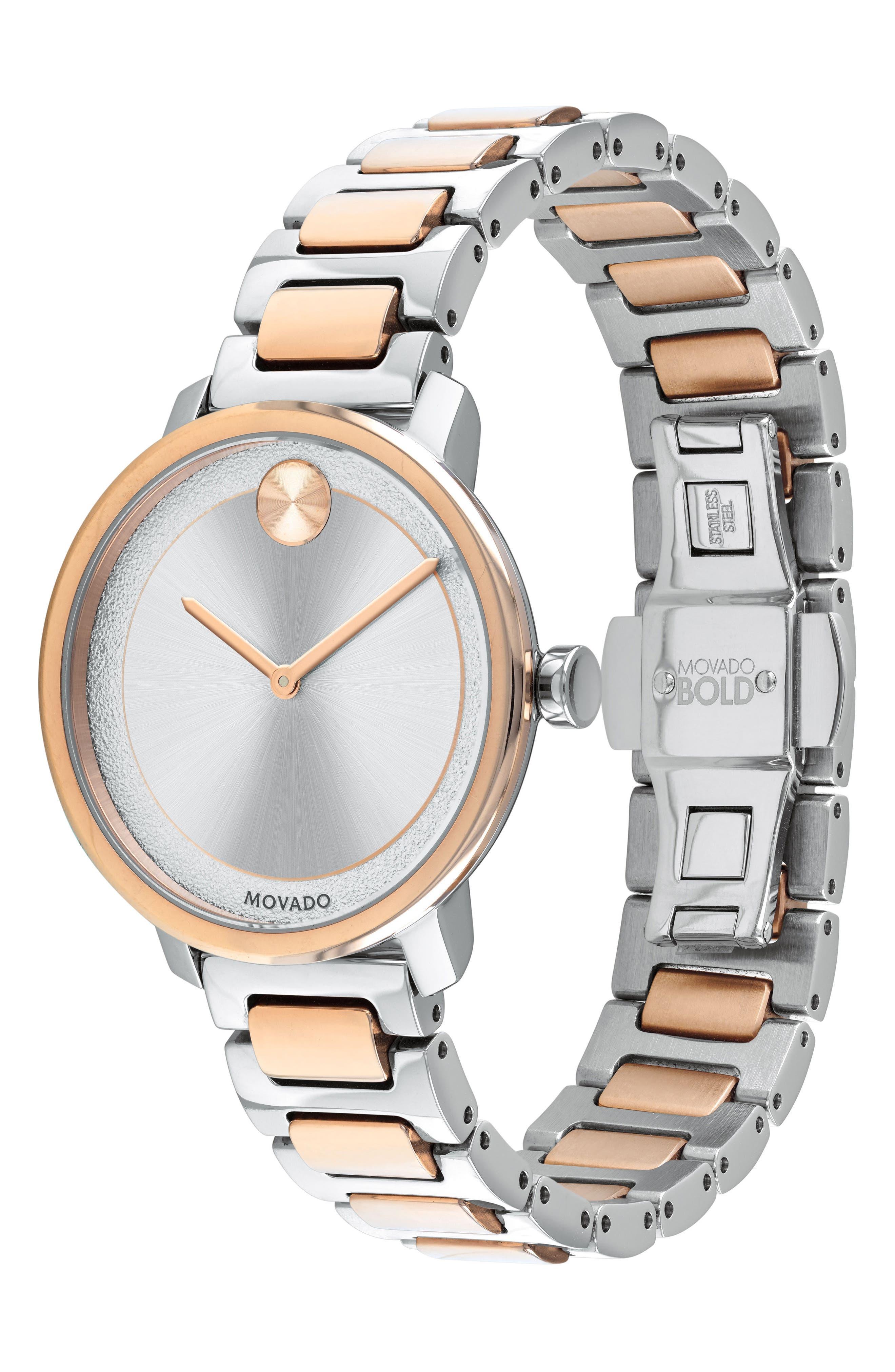 Bold Bracelet Watch, 34mm,                             Alternate thumbnail 3, color,                             SILVER/ ROSE GOLD