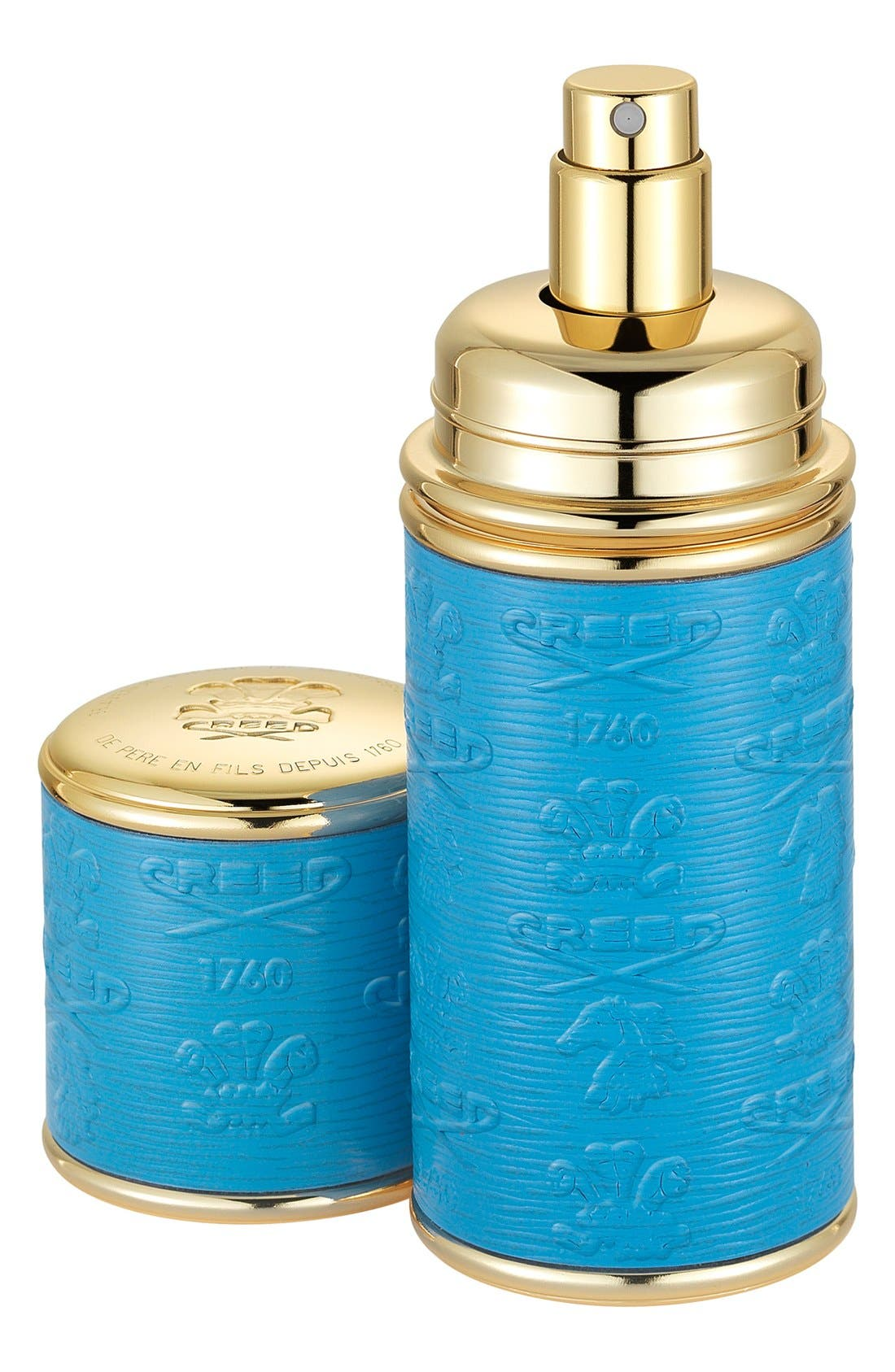 Blue with Gold Trim Leather Atomizer,                             Main thumbnail 1, color,                             NO COLOR