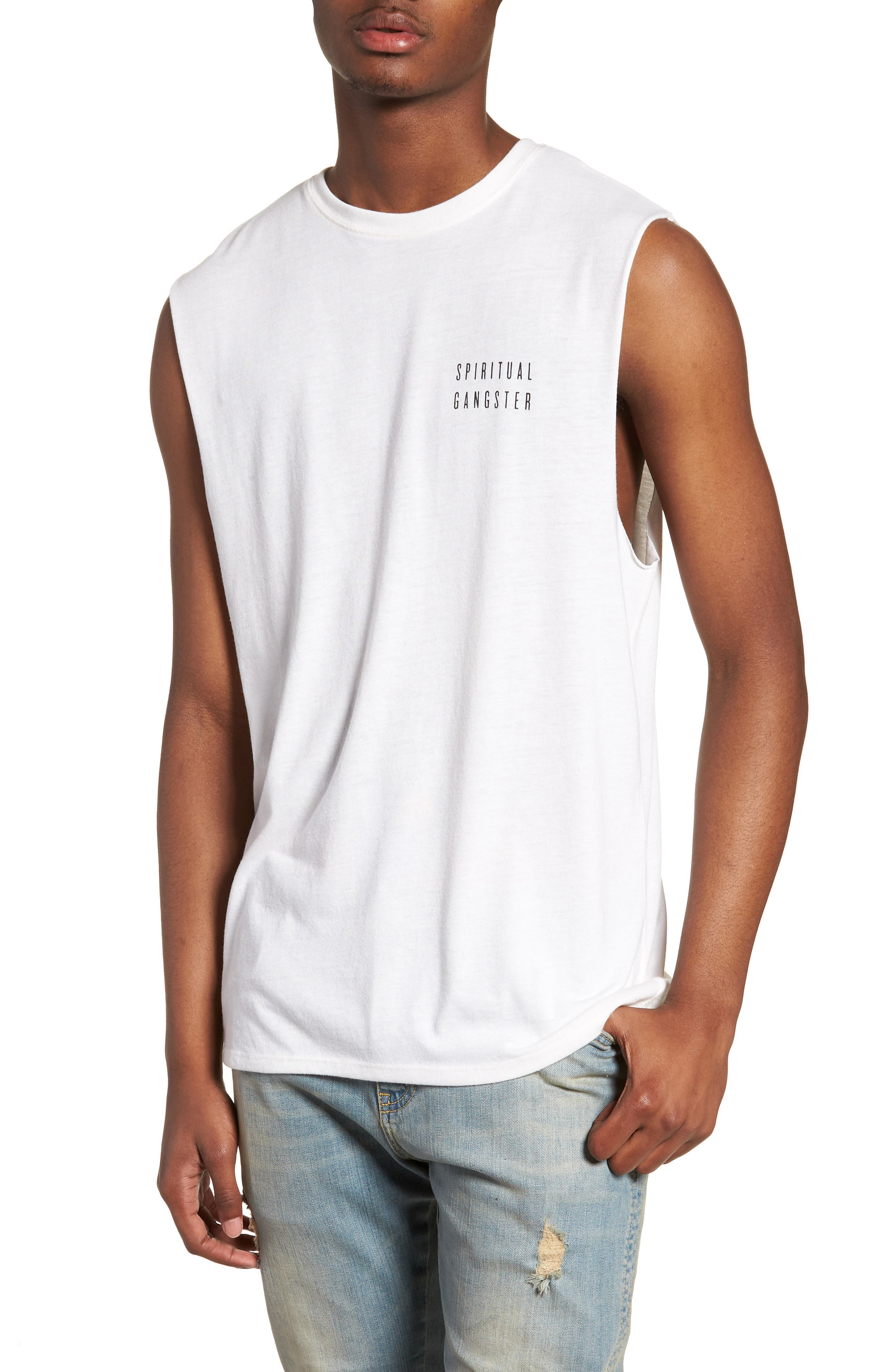Good Vibes Graphic Muscle Tank,                             Main thumbnail 1, color,                             WHISPER WHITE