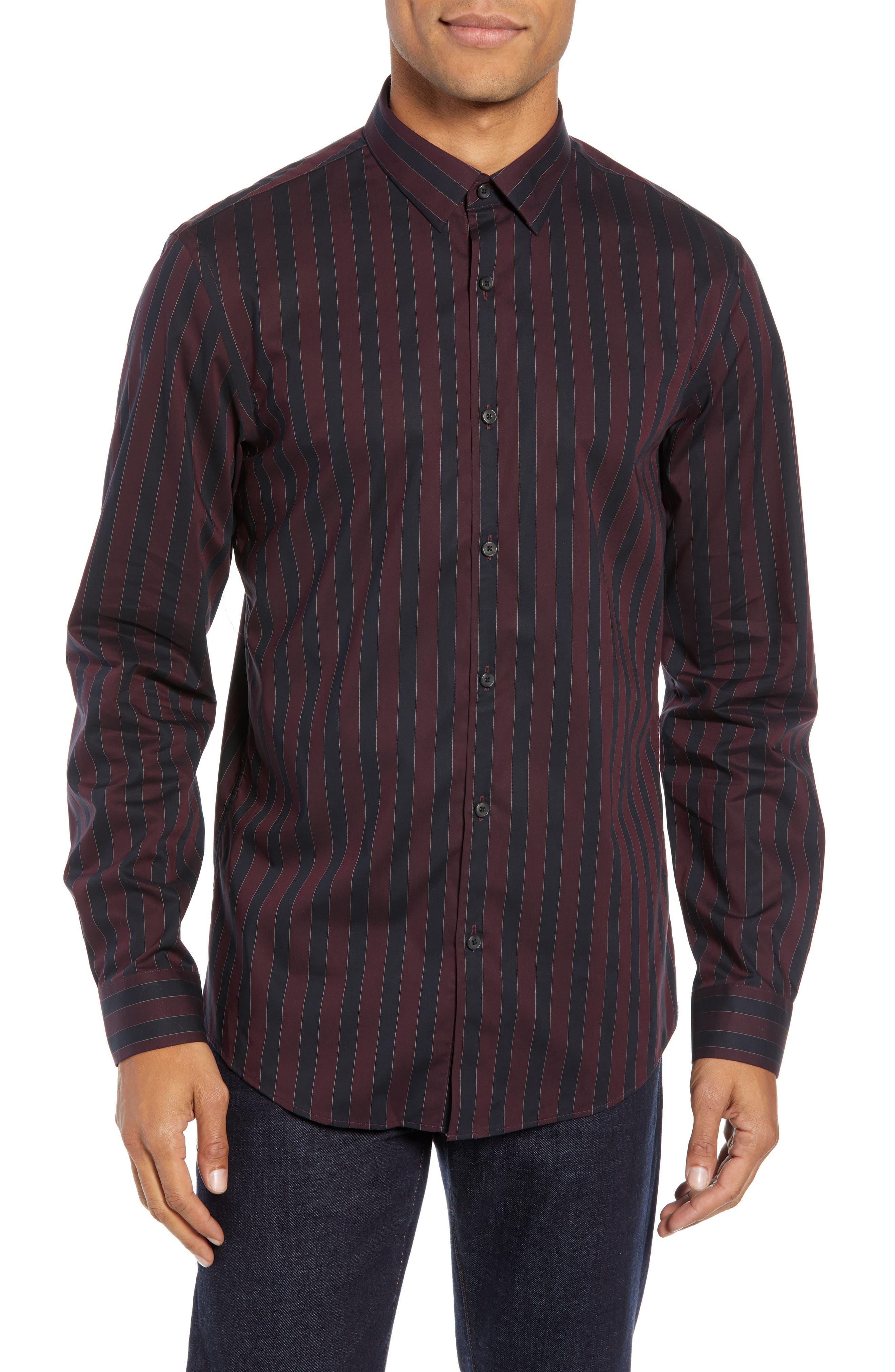 Trim Fit Non-Iron Stripe Sport Shirt,                         Main,                         color, 938