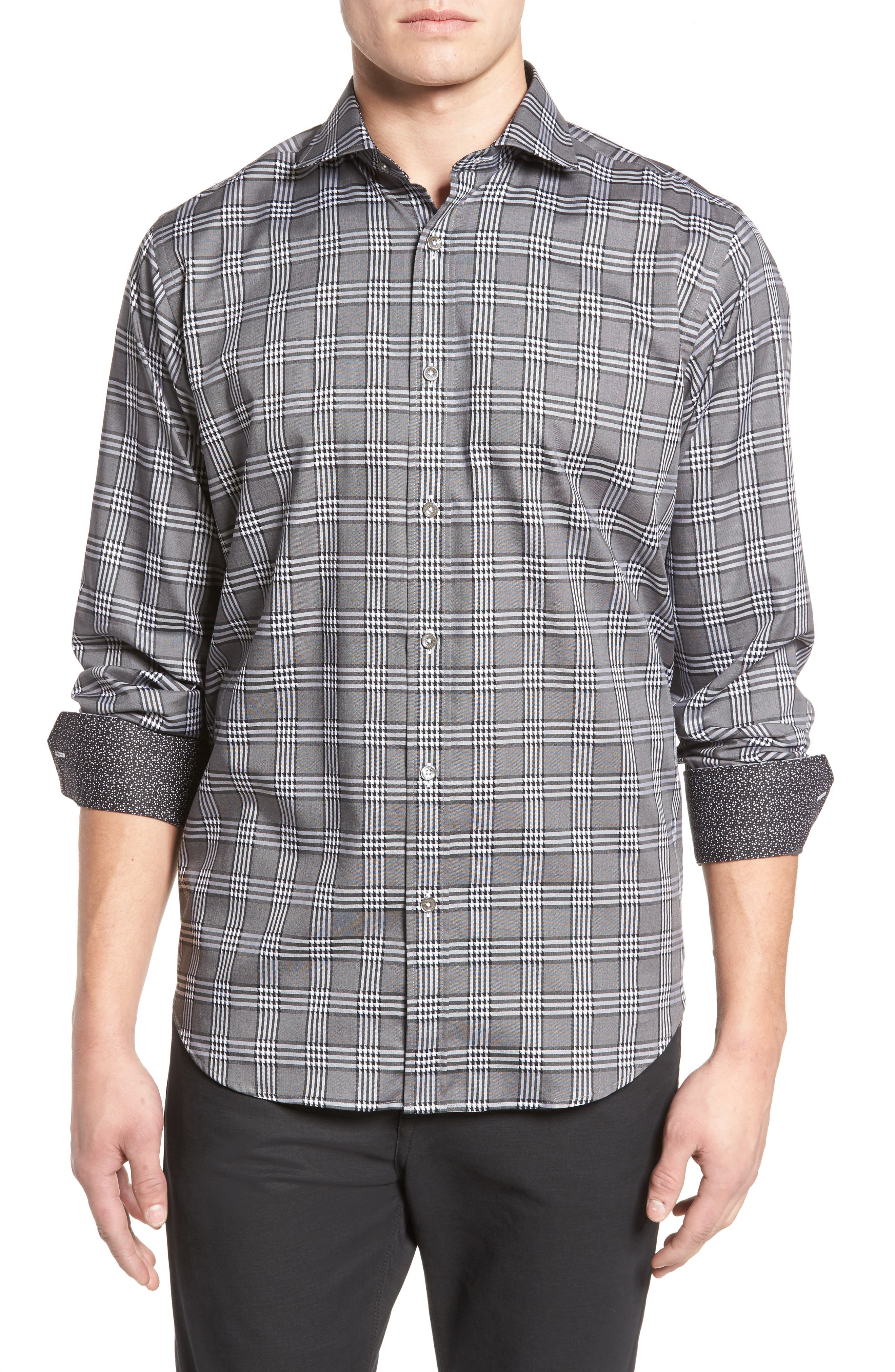 Classic Fit Plaid Sport Shirt,                             Main thumbnail 1, color,