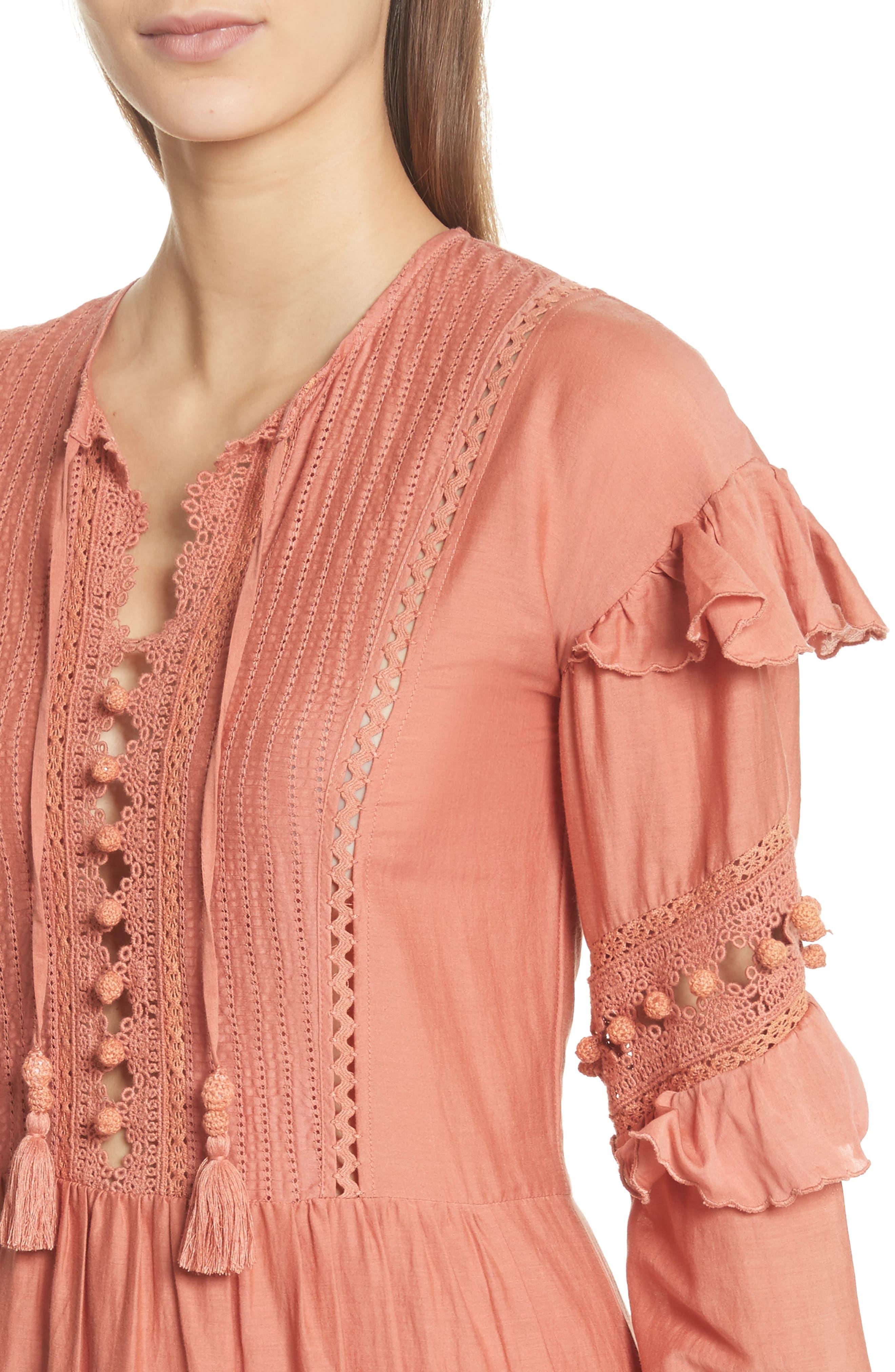 Weatherly Crochet Pompom Dress,                             Alternate thumbnail 4, color,