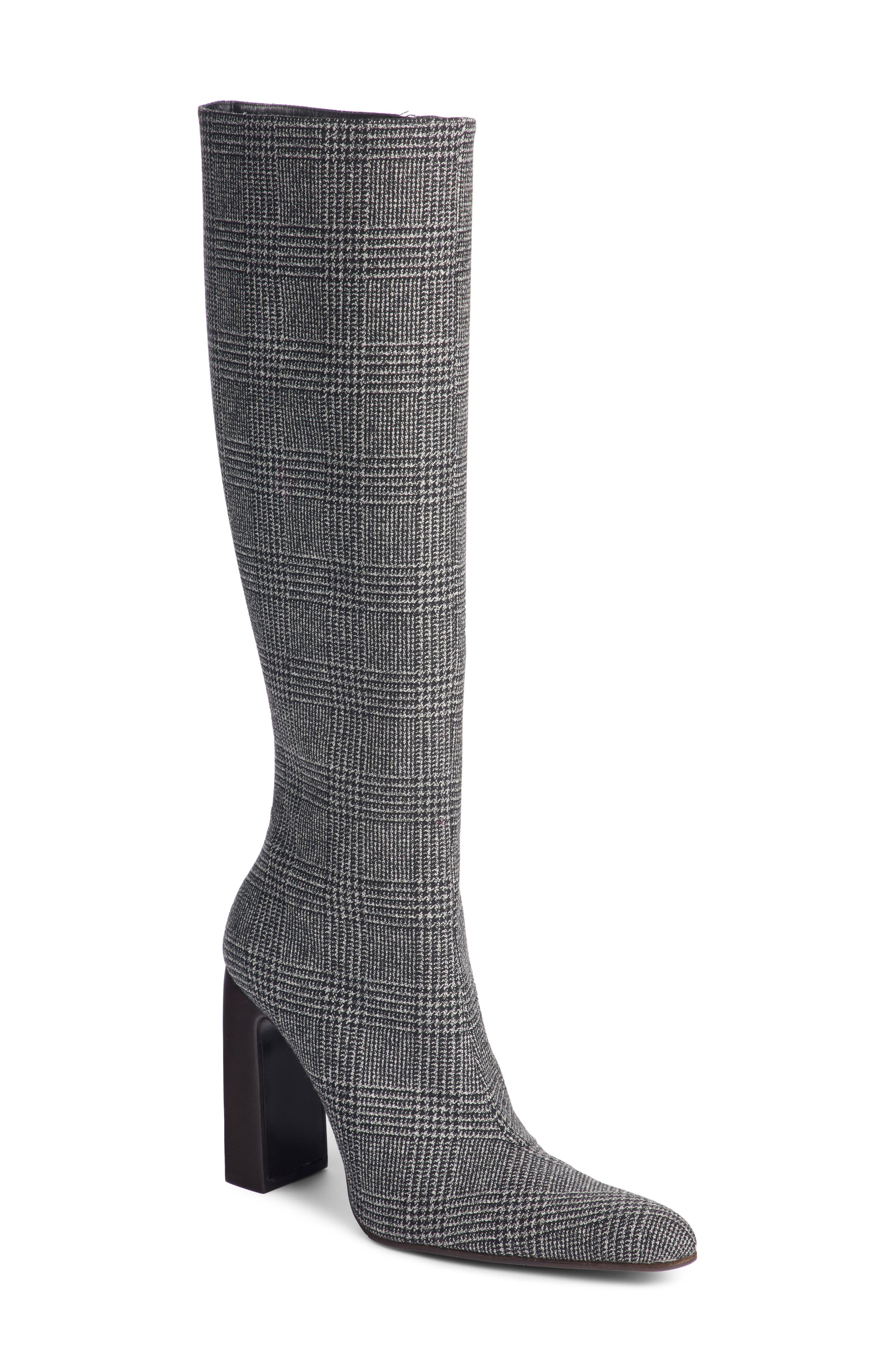 Prince of Wales Knee High Boot,                         Main,                         color, GREY