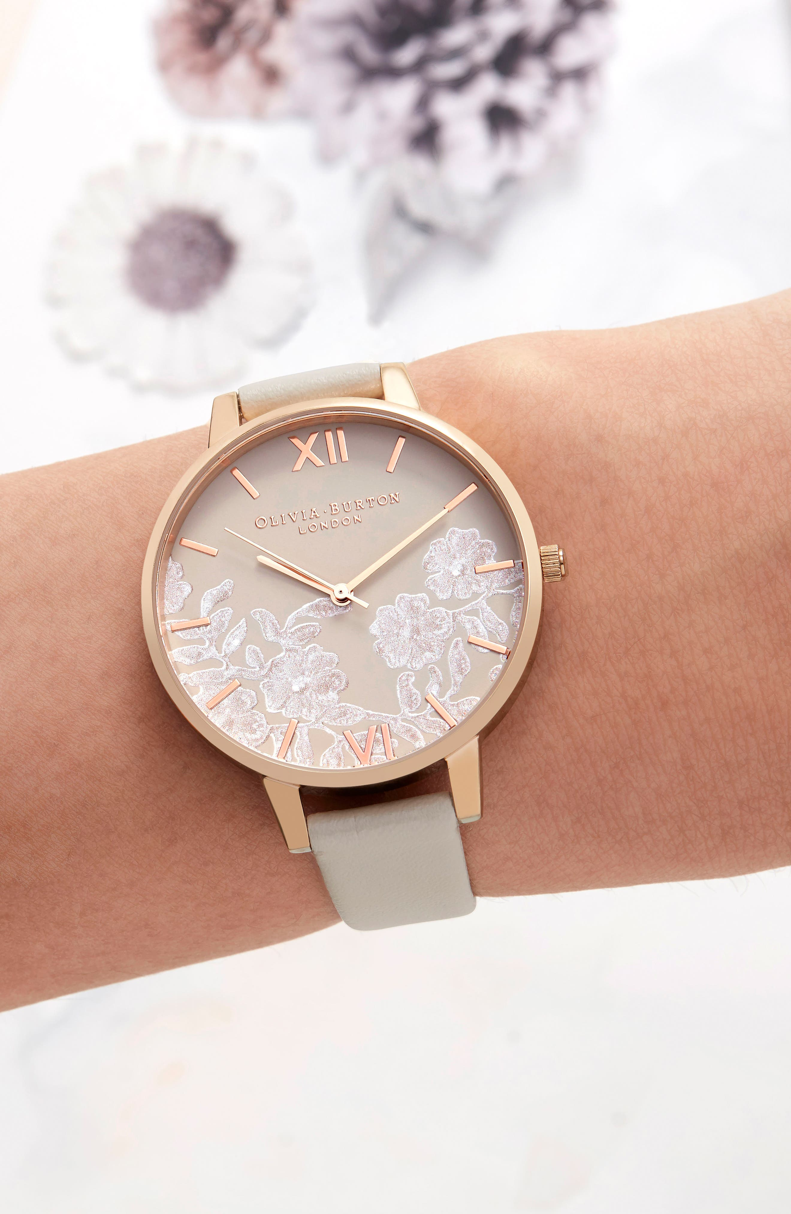 Lace Detail Faux Leather Strap Watch, 38mm,                             Alternate thumbnail 6, color,                             NUDE/ GREY FLORAL/ ROSE GOLD
