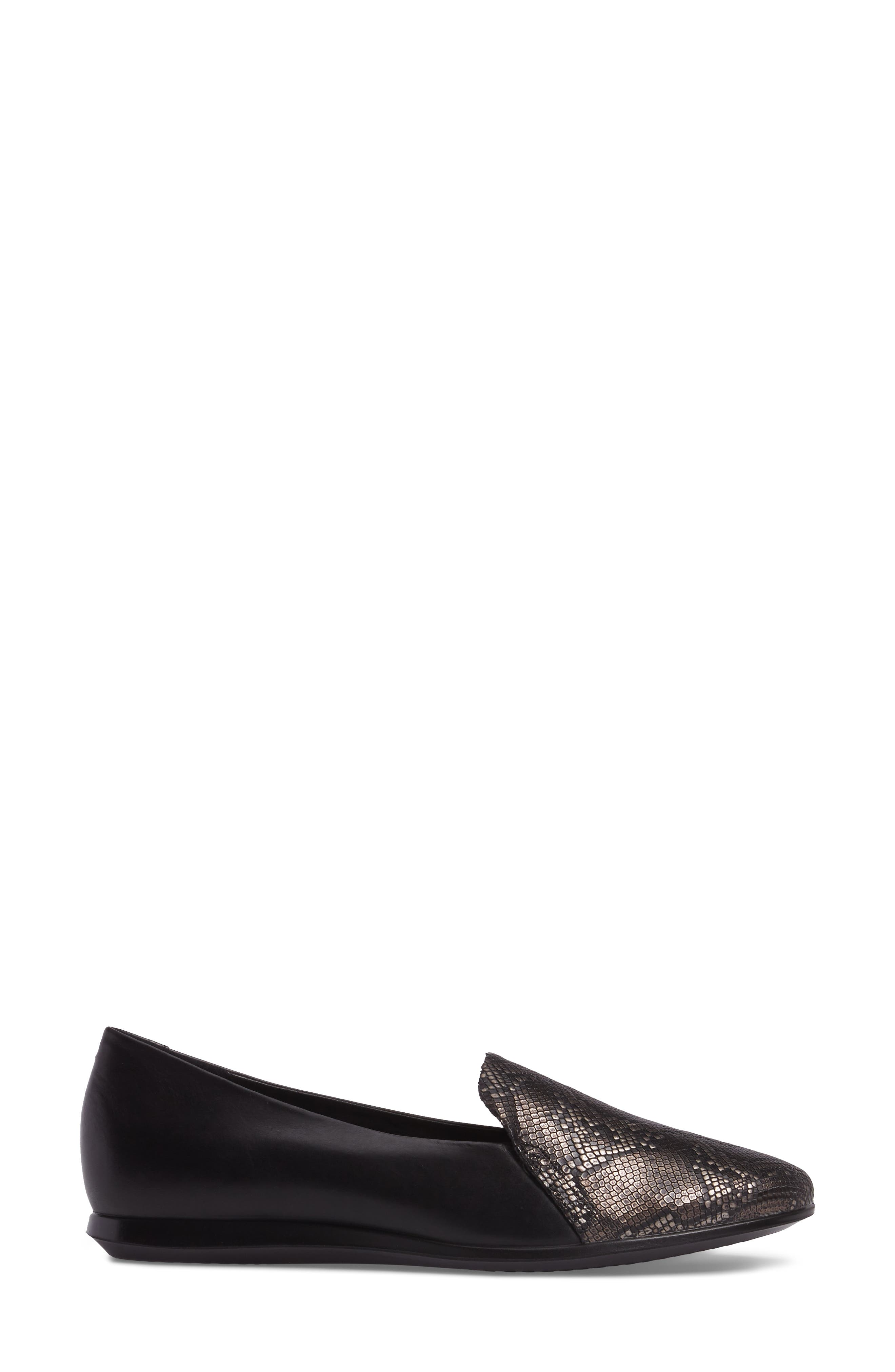 Touch 2.0 Scale Embossed Loafer Flat,                             Alternate thumbnail 3, color,                             DARK SHADOW LEATHER
