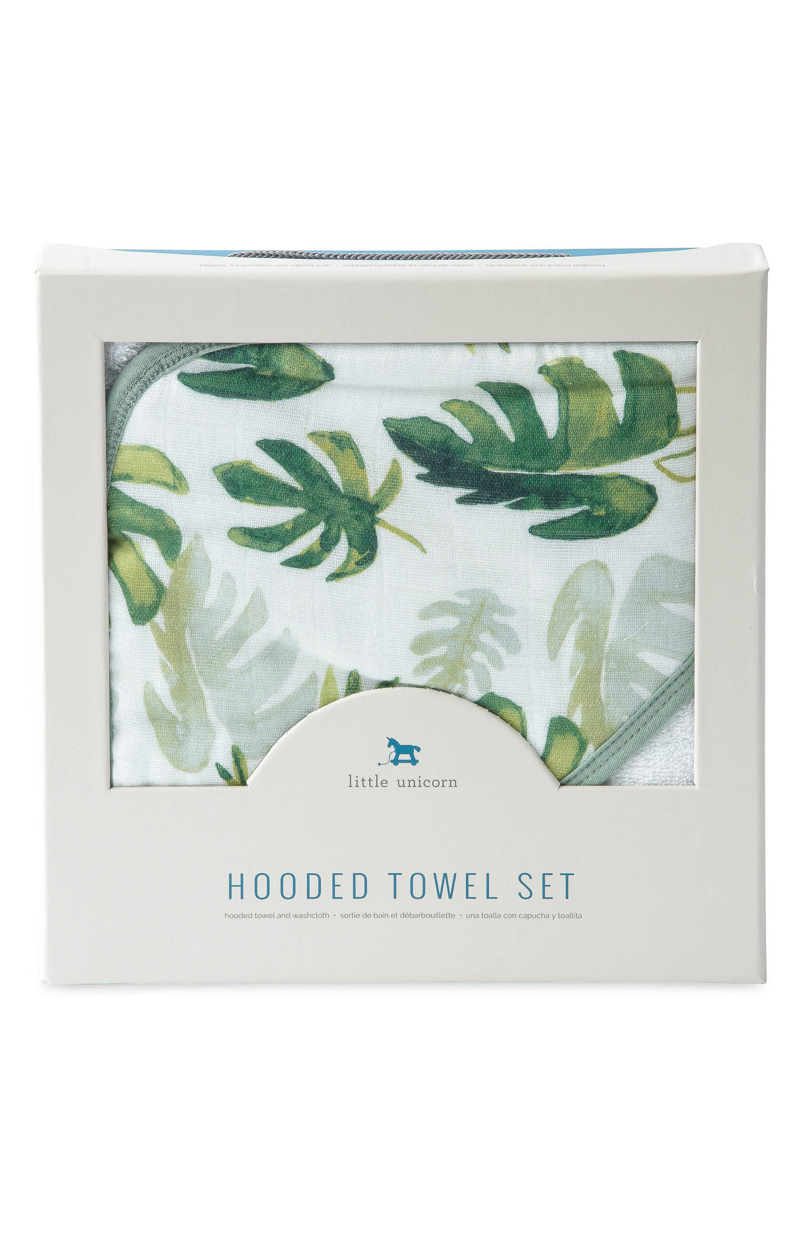 Hooded Towel and Washcloth Set,                             Alternate thumbnail 3, color,                             TROPICAL LEAF