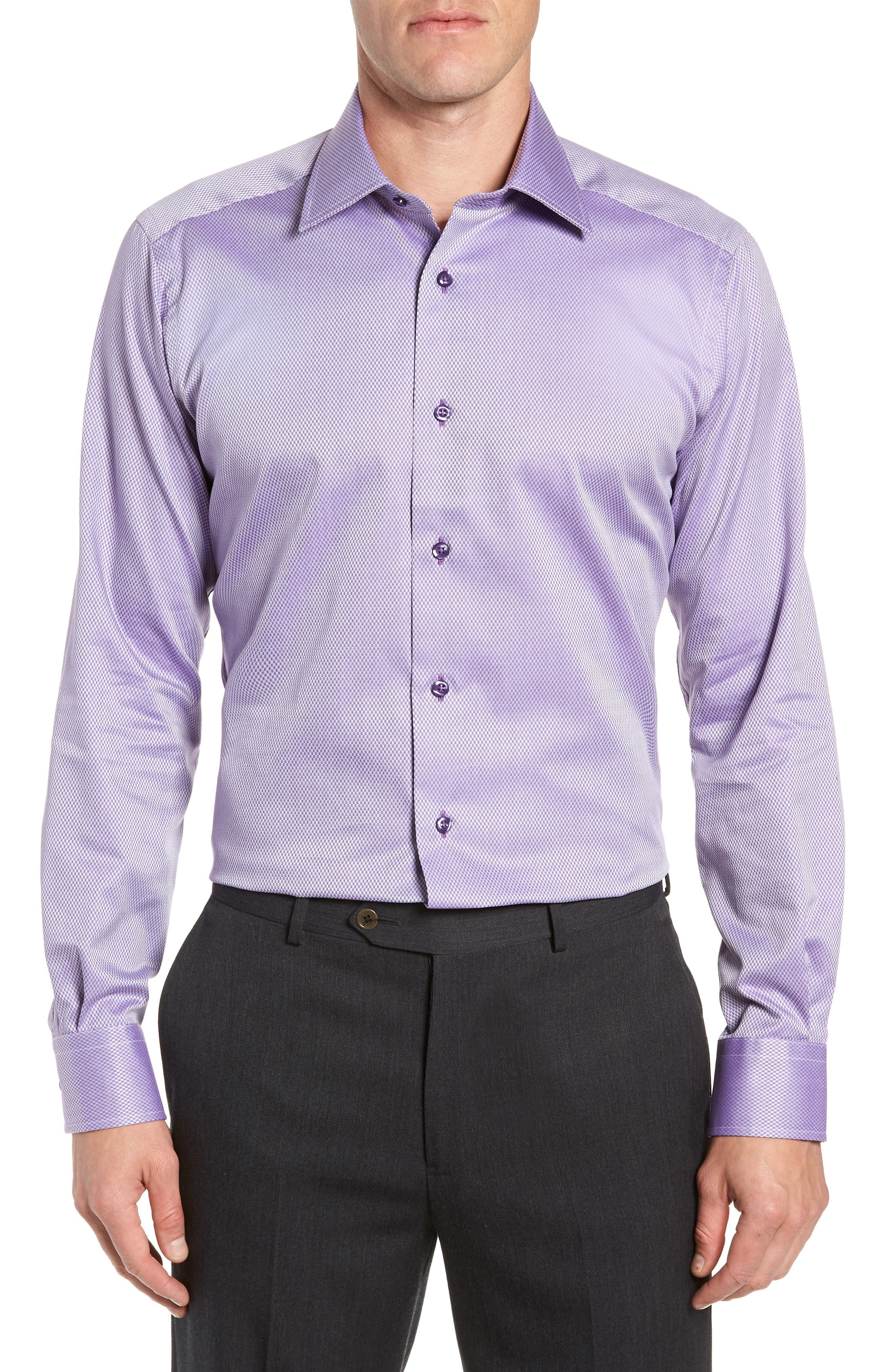DAVID DONAHUE Men'S Trim-Fit Tonal Box Dress Shirt, Purple