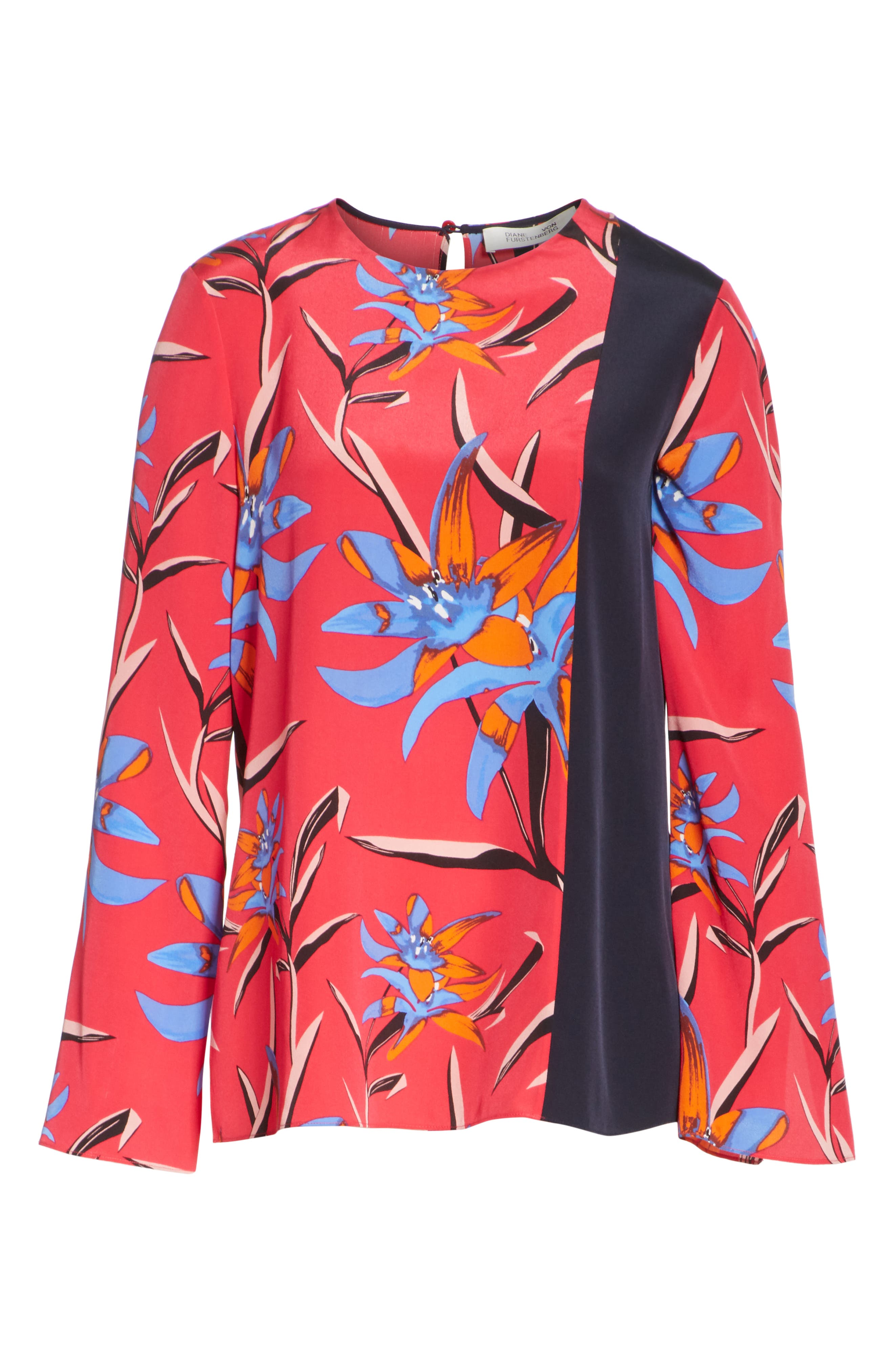 Diane von Furstenberg Side Slit Silk Blouse,                             Alternate thumbnail 12, color,