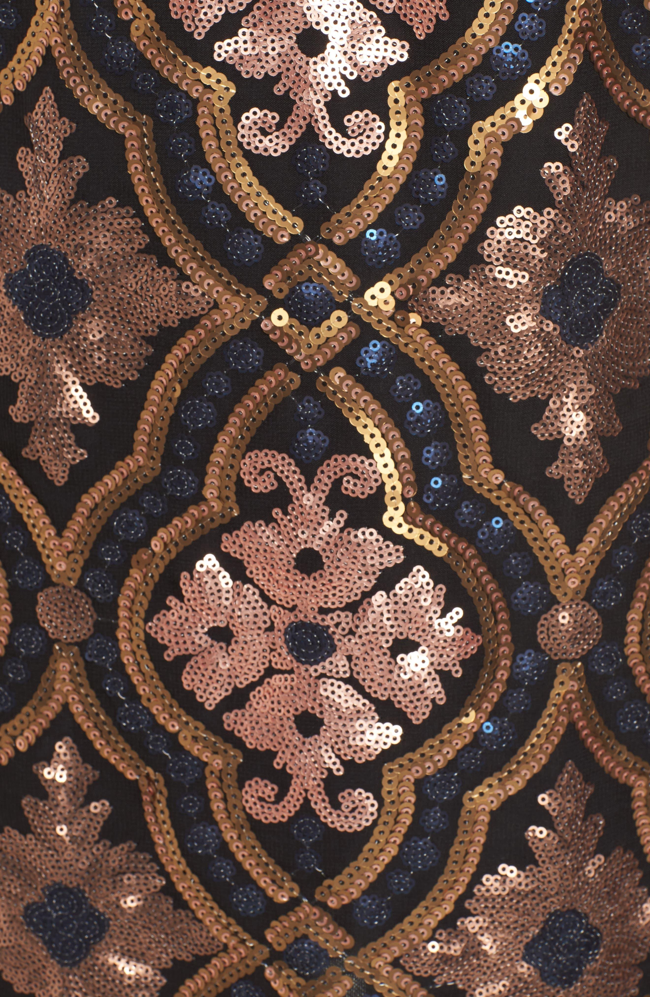 Double Dipper Sequin Dress,                             Alternate thumbnail 5, color,                             001