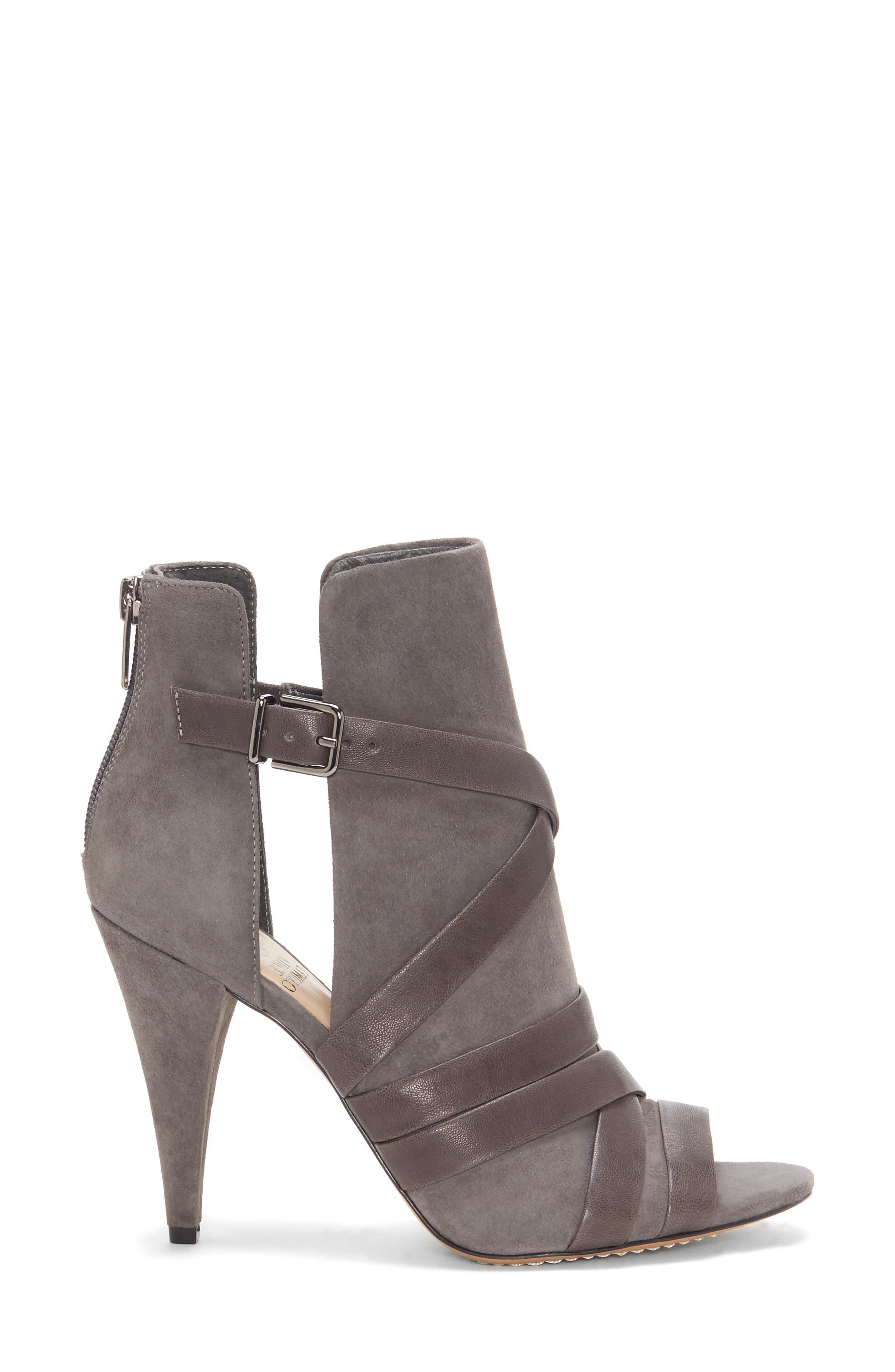 Achika Belted Peep Toe Bootie,                             Alternate thumbnail 3, color,                             POWER GREY LEATHER