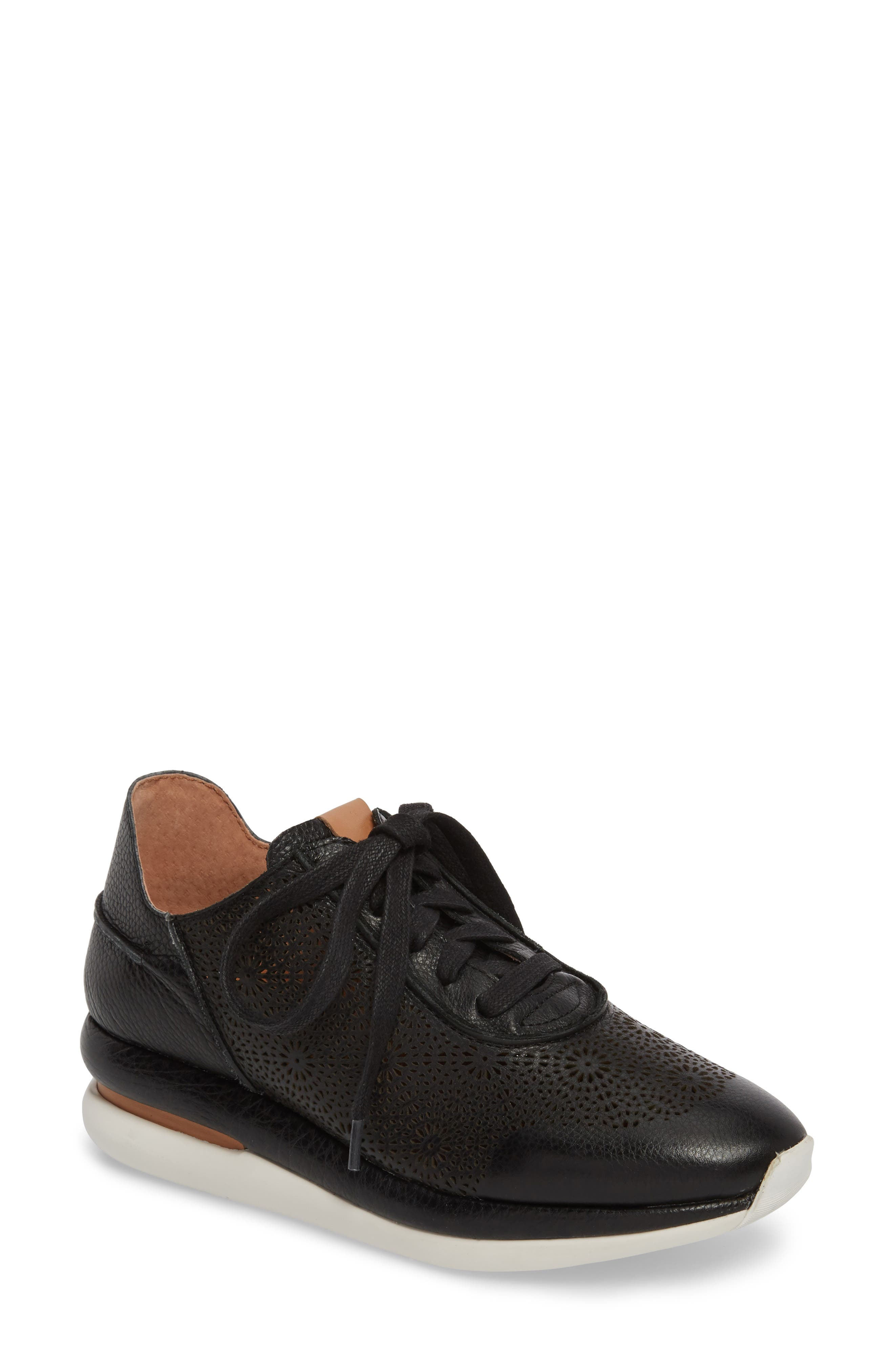 by Kenneth Cole Raina II Sneaker,                             Main thumbnail 1, color,                             BLACK LEATHER