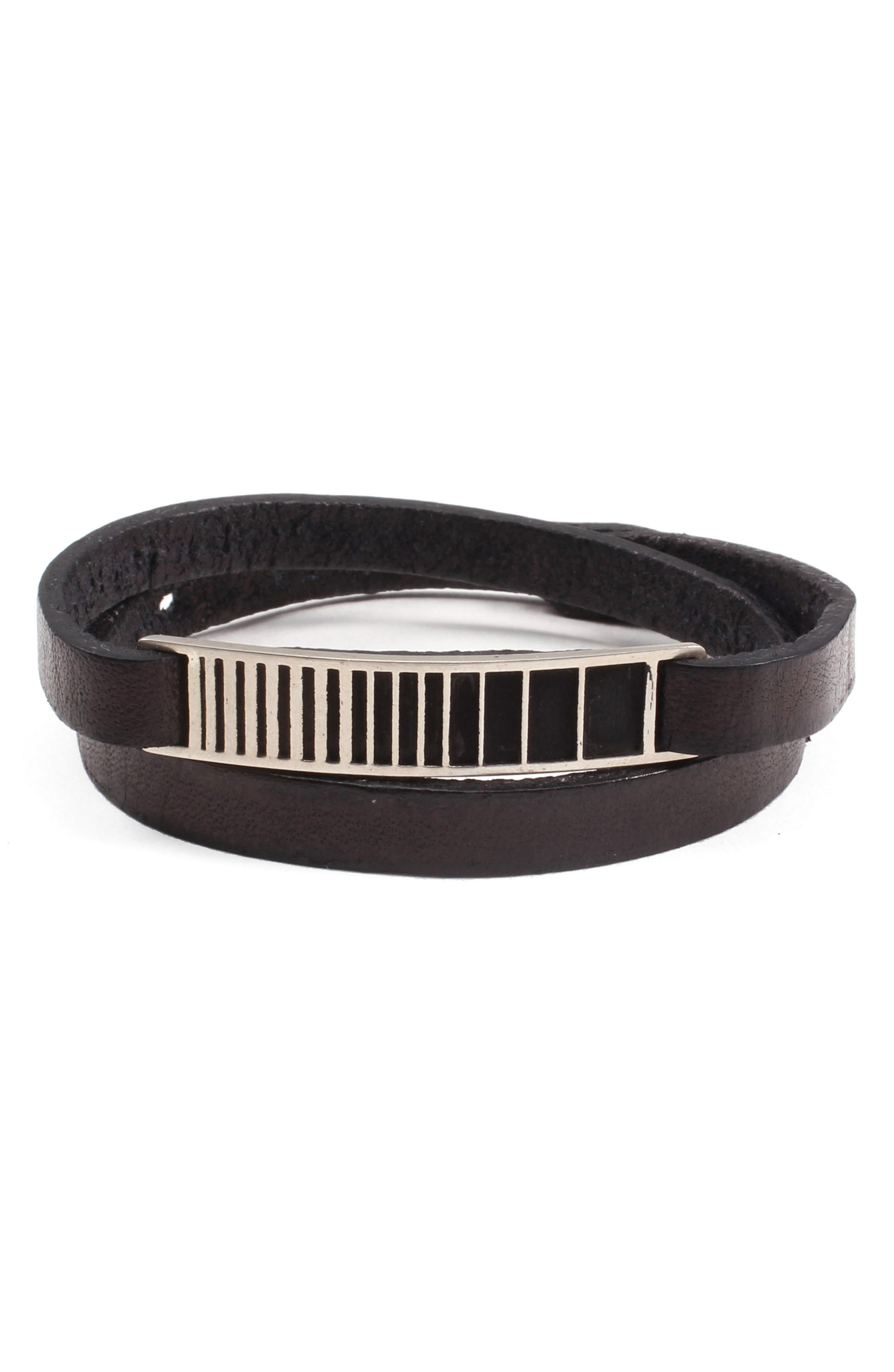 Utopia ID Leather Wrap Bracelet,                         Main,                         color, 001
