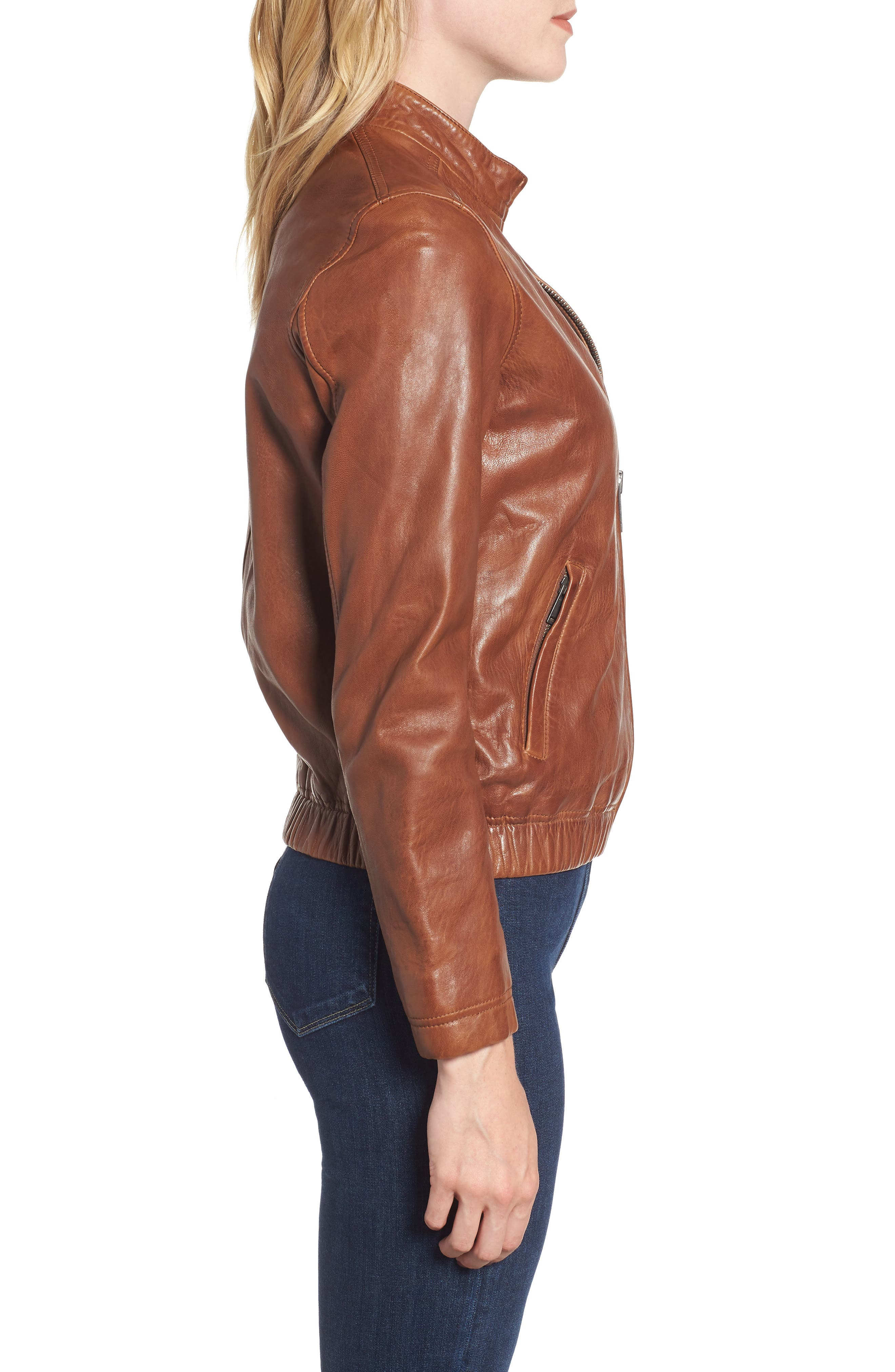 LUCKY BRAND,                             Ana Leather Jacket,                             Alternate thumbnail 4, color,                             210