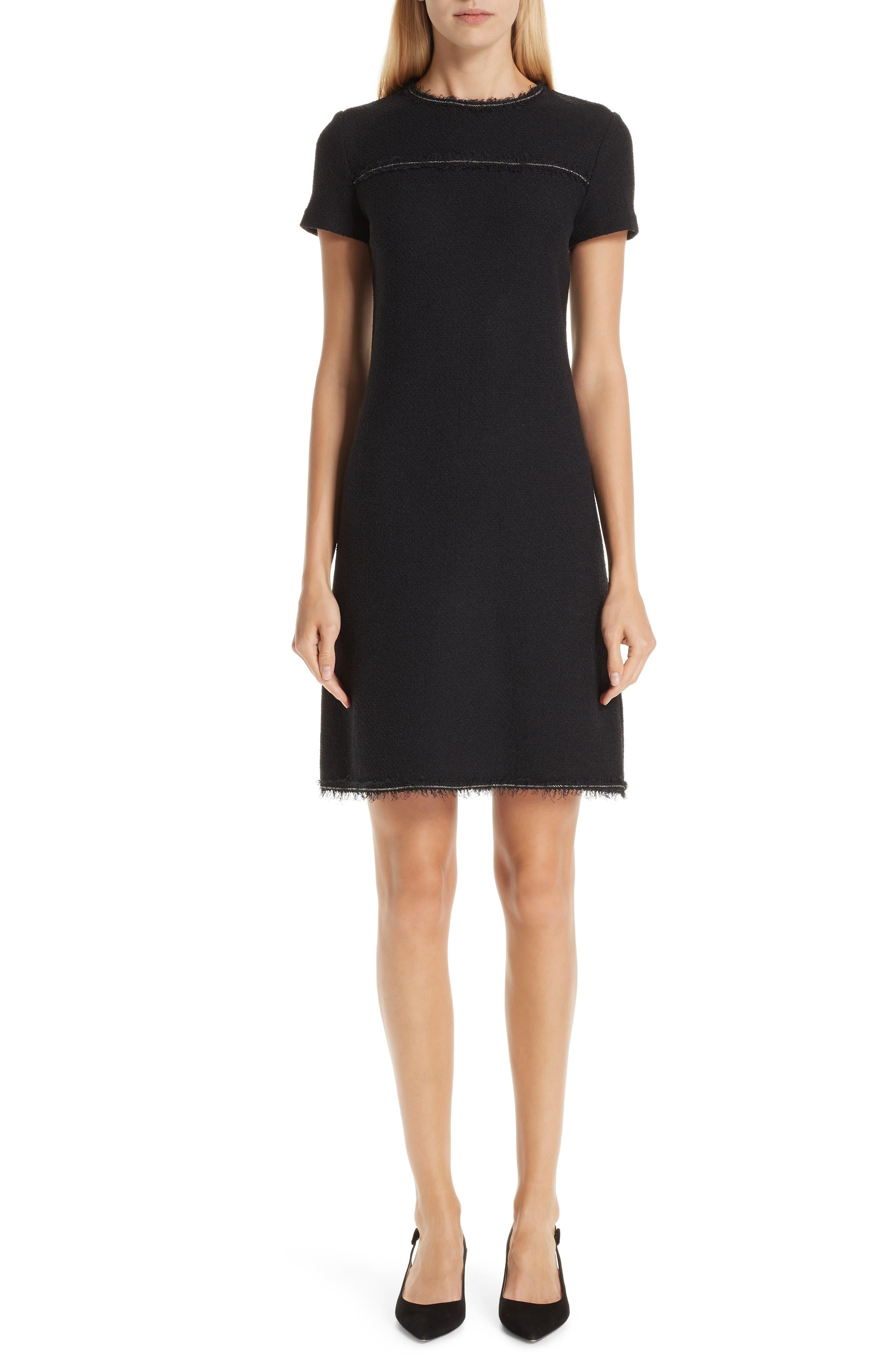 St. John Collection Boucle Knit Dress, Black