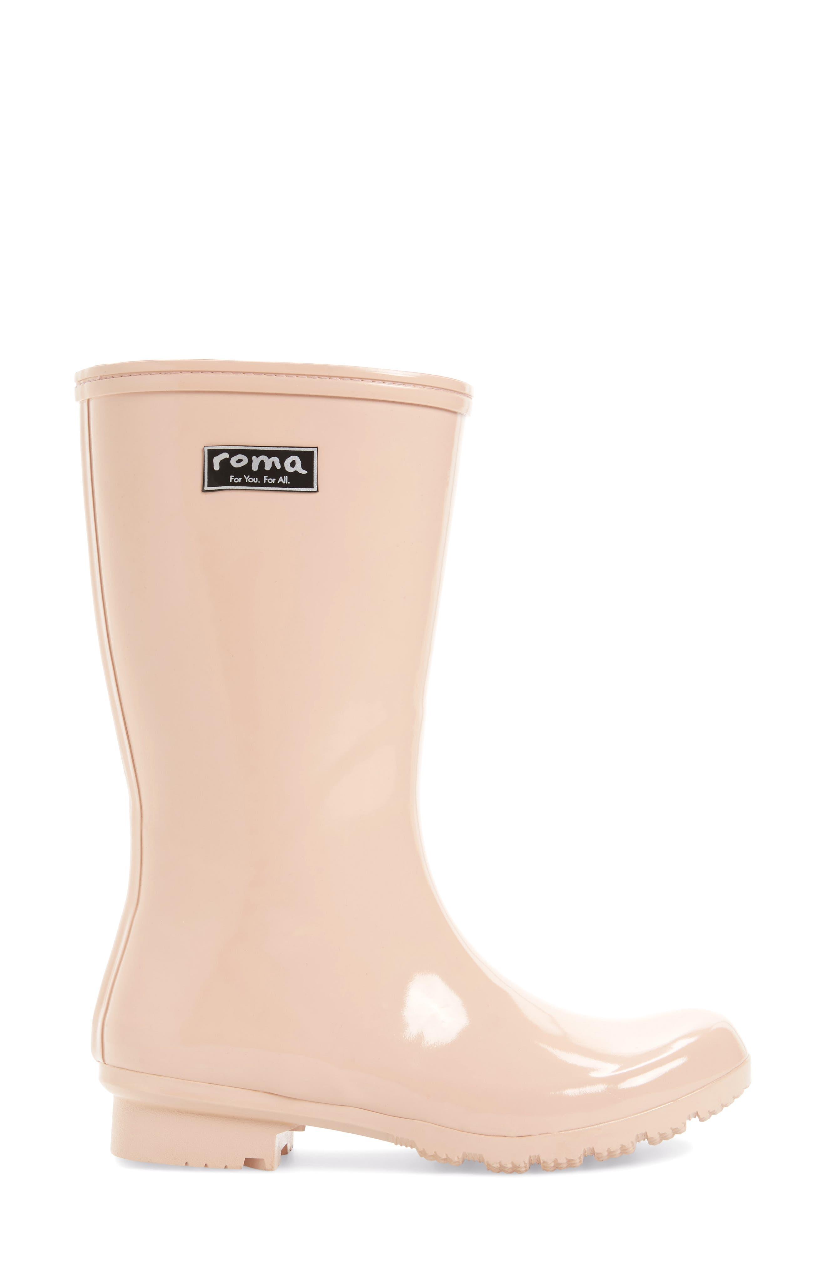 'Emma - Short' Glossy Rain Boot,                             Alternate thumbnail 6, color,