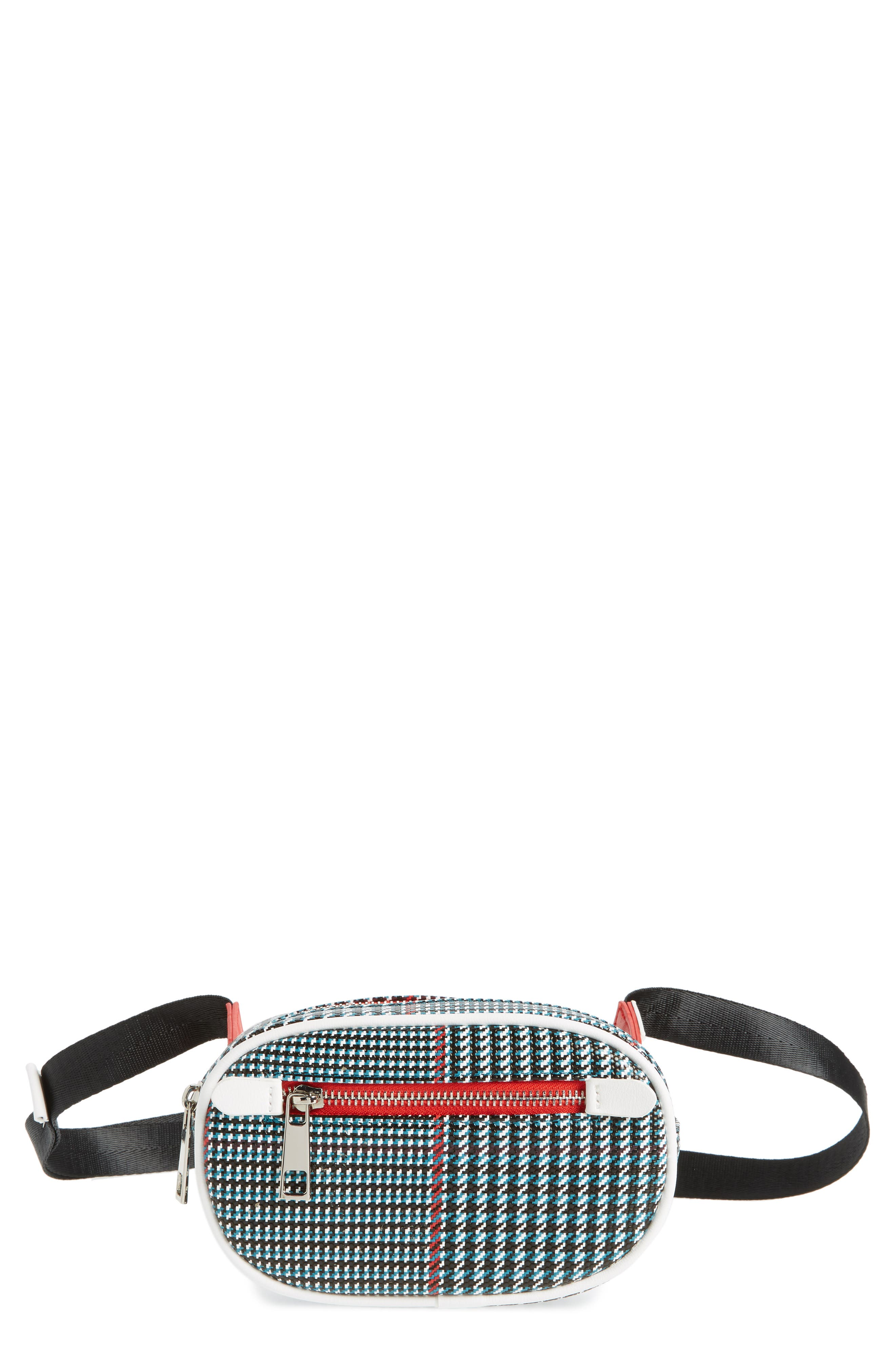 Houndstooth Belt Bag,                         Main,                         color, BLUE MULTI