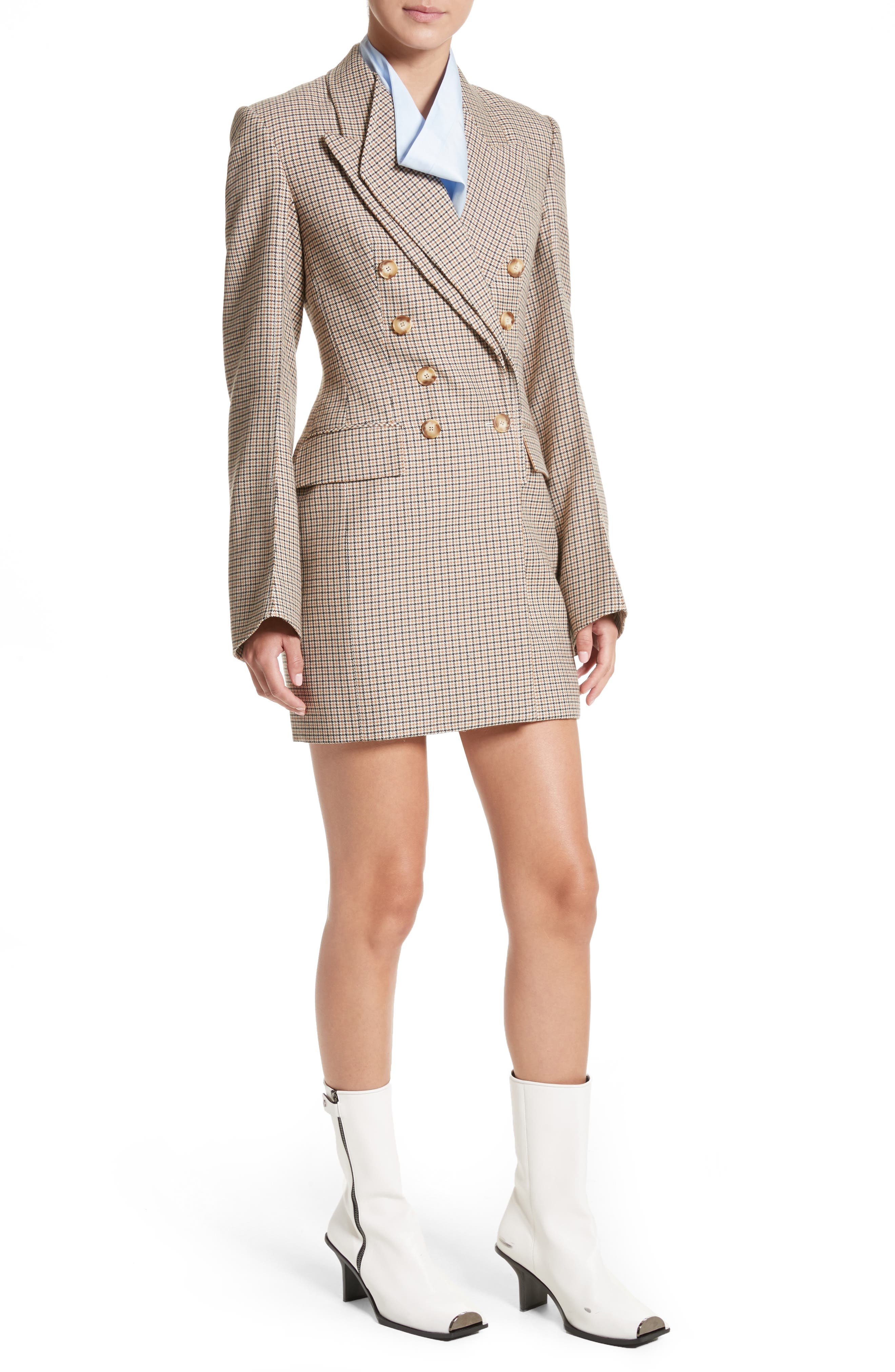 Check Wool Double Breasted Jacket,                             Alternate thumbnail 5, color,