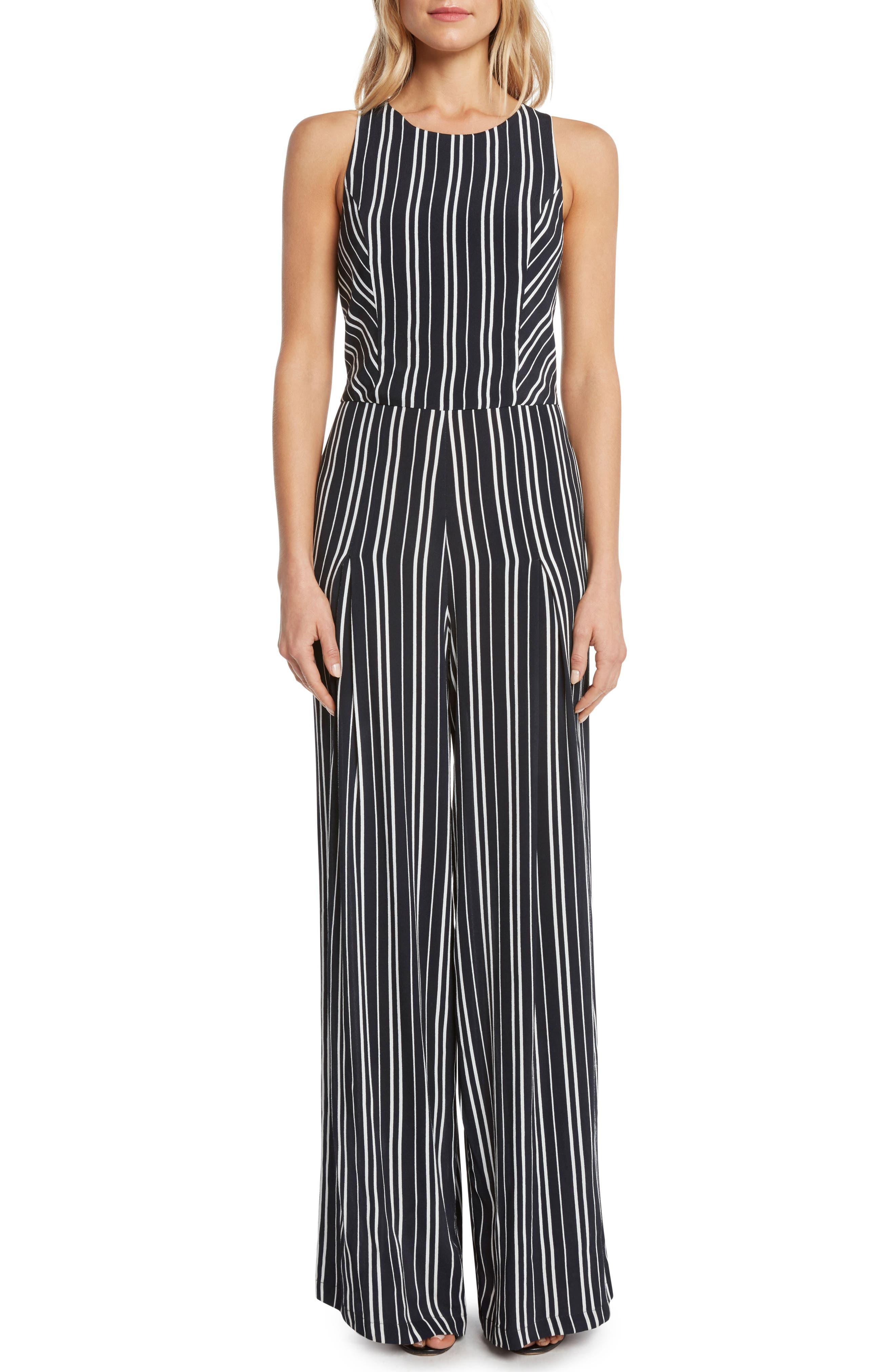 Stripe Jumpsuit,                         Main,                         color, BLACK