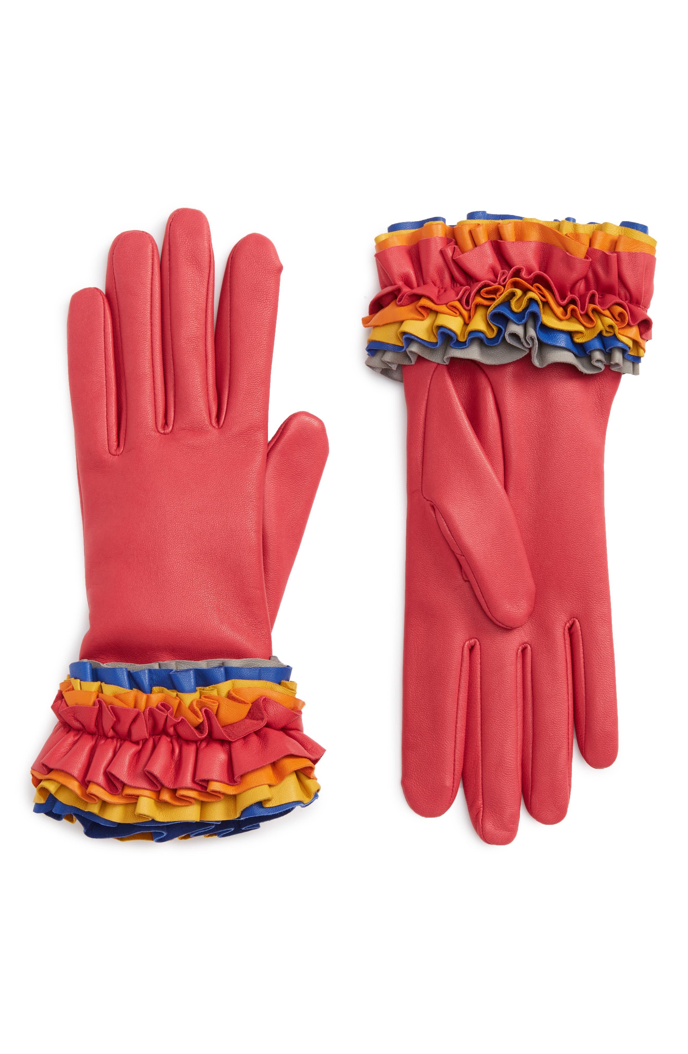 Ruffle Lambskin Leather Gloves,                             Main thumbnail 1, color,                             650