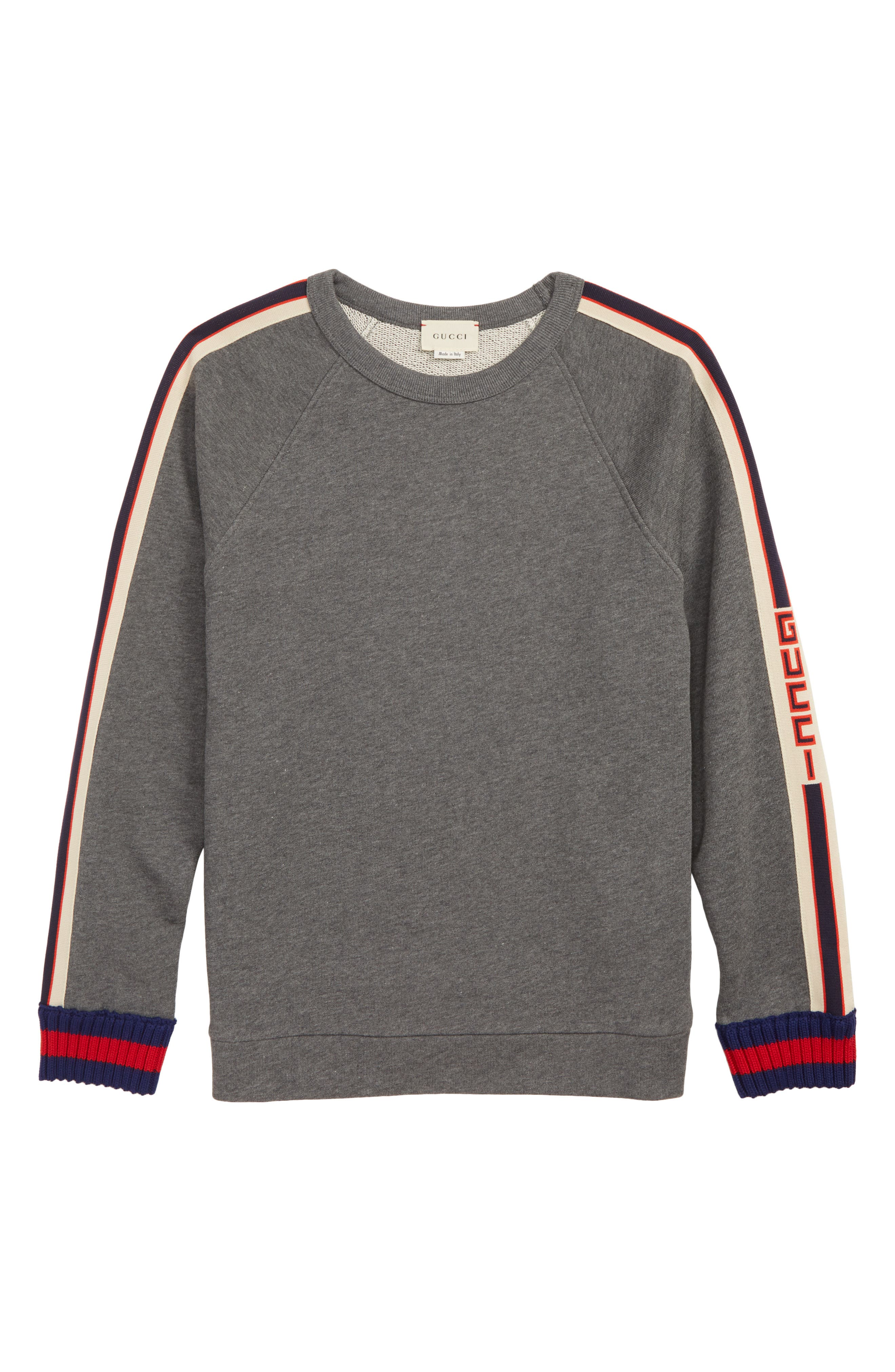 Stripe French Terry Sweatshirt,                             Main thumbnail 1, color,                             MD GREY/ COBALT/ RED