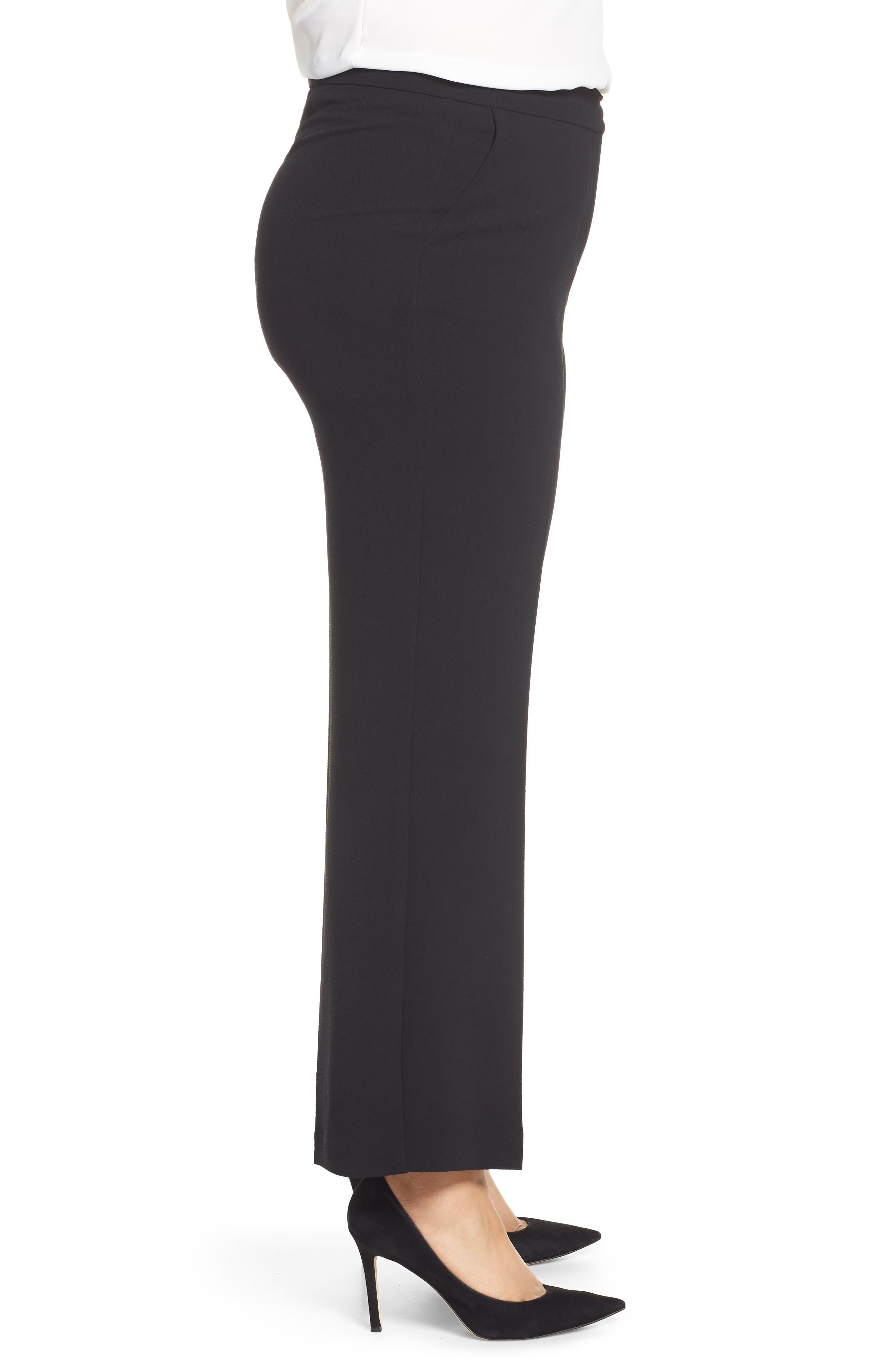 VINCE CAMUTO,                             Parisian Crepe Straight Leg Pants,                             Alternate thumbnail 4, color,                             RICH BLACK